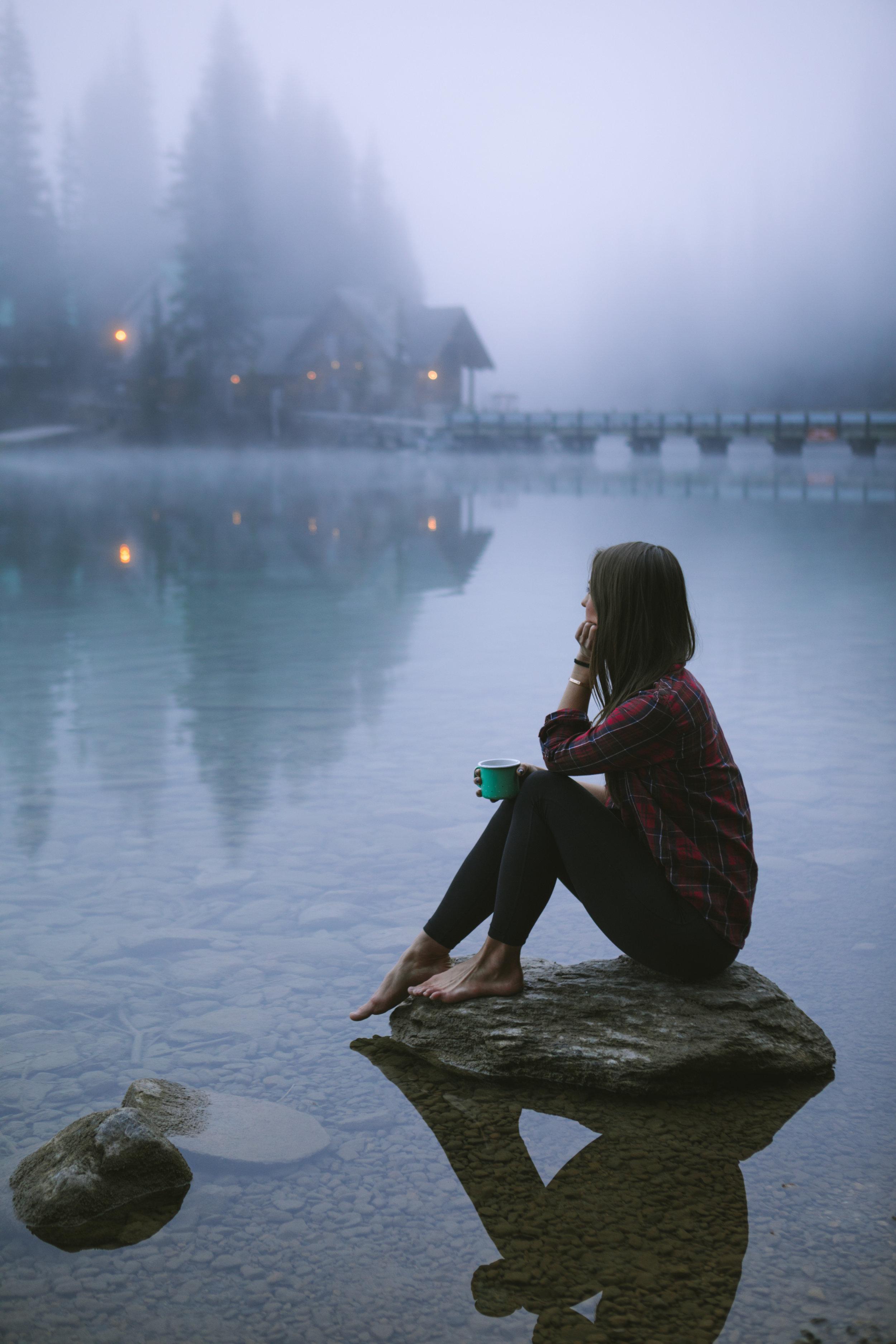 A foggy morning coffee along the Emerald Lake shoreline. photo / Michael Matti