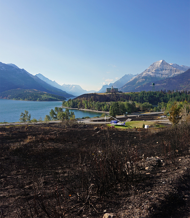 The devastation of the 2017 wildfires from the Parks Canada Website