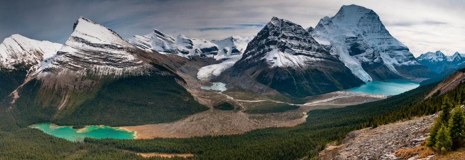 Image from  Reddit  - Adolphus lake (L), Robson Glacier and Lake (M), Berg Lake (R) from Munn Basin