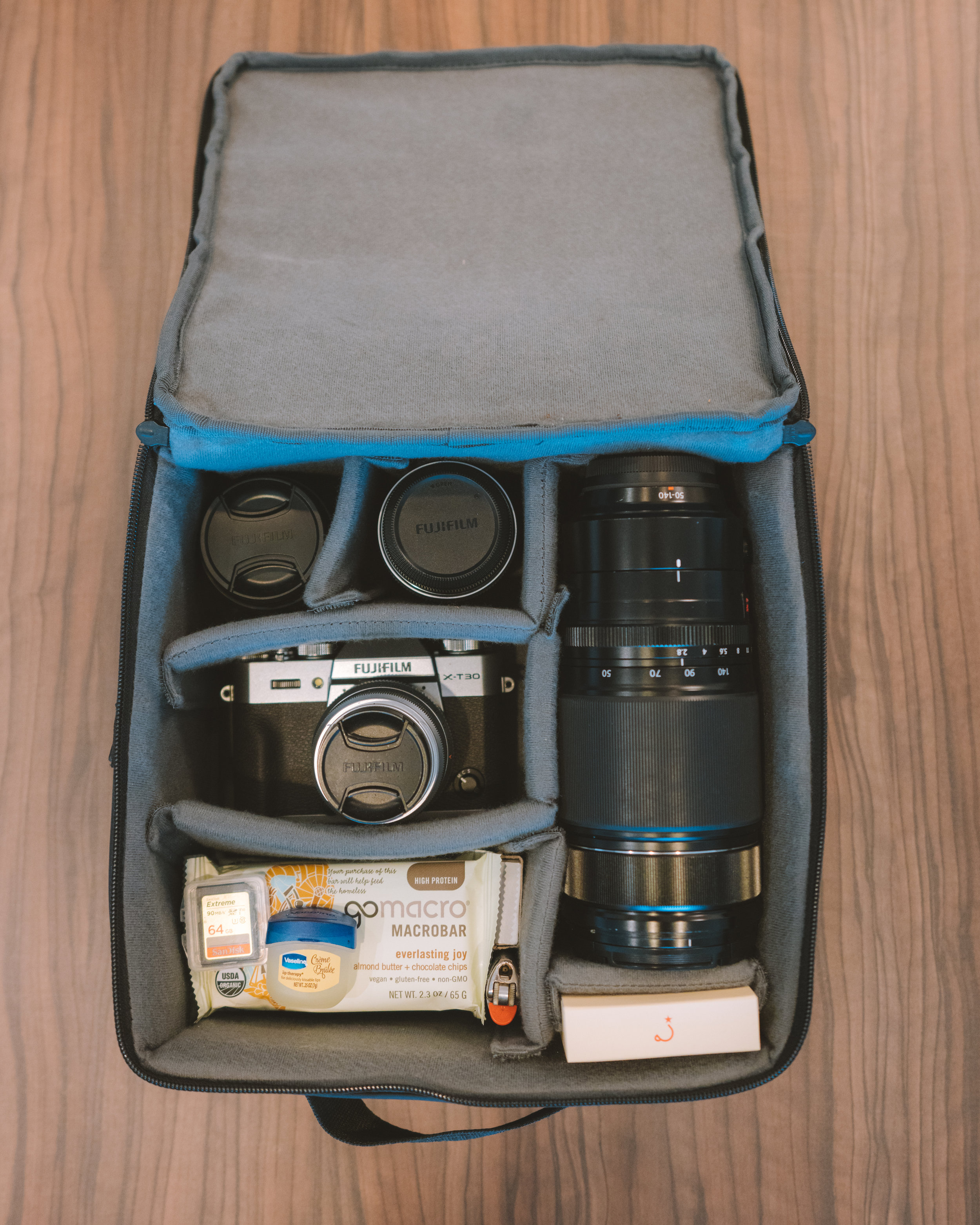 Fujifilm X-T30 in the Douchebags CIA camera bag with accessories (including snacks & coffee)