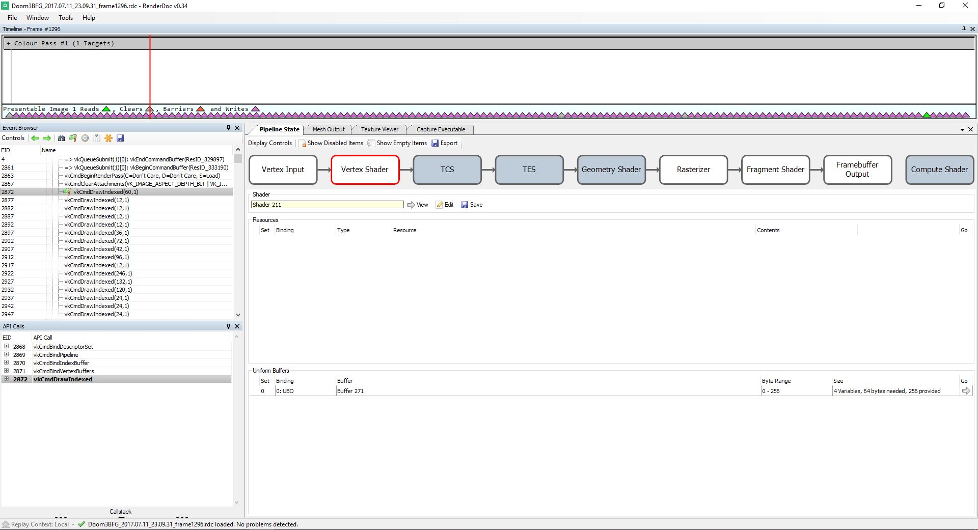 Here is a frame capture of vkNeo using RenderDoc. We're going to step through it for great success. ( click to enhance )