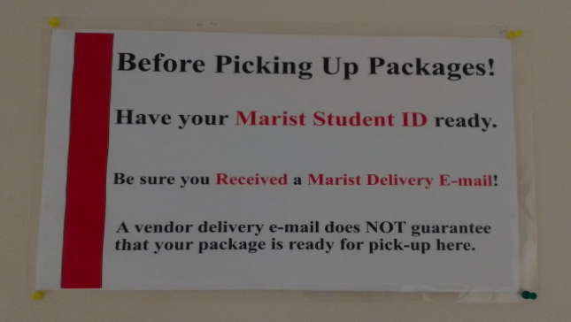 The new sign at the post office indicates that students should have their student ID ready when coming to pick up packages. SOURCE: CAROLINE CHAN