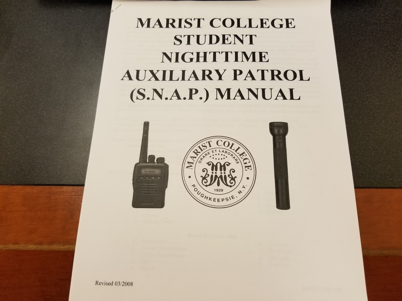 Front cover of SNAP Manual. (Photo courtesy of Luke Carberry Mogan).
