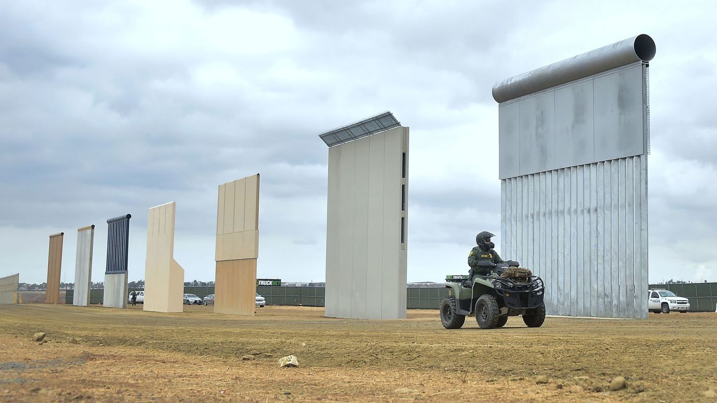 Border wall prototypes - Photo courtesy of the Los Angeles Times
