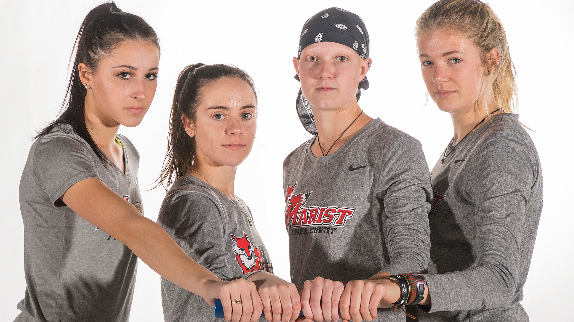 (From left to right) freshman Gianna Mastromatteo, junior Kerry Gaye, senior Jenna Robinson and sophomore Denise Grohn. Photo courtesy of Marist Athletics.