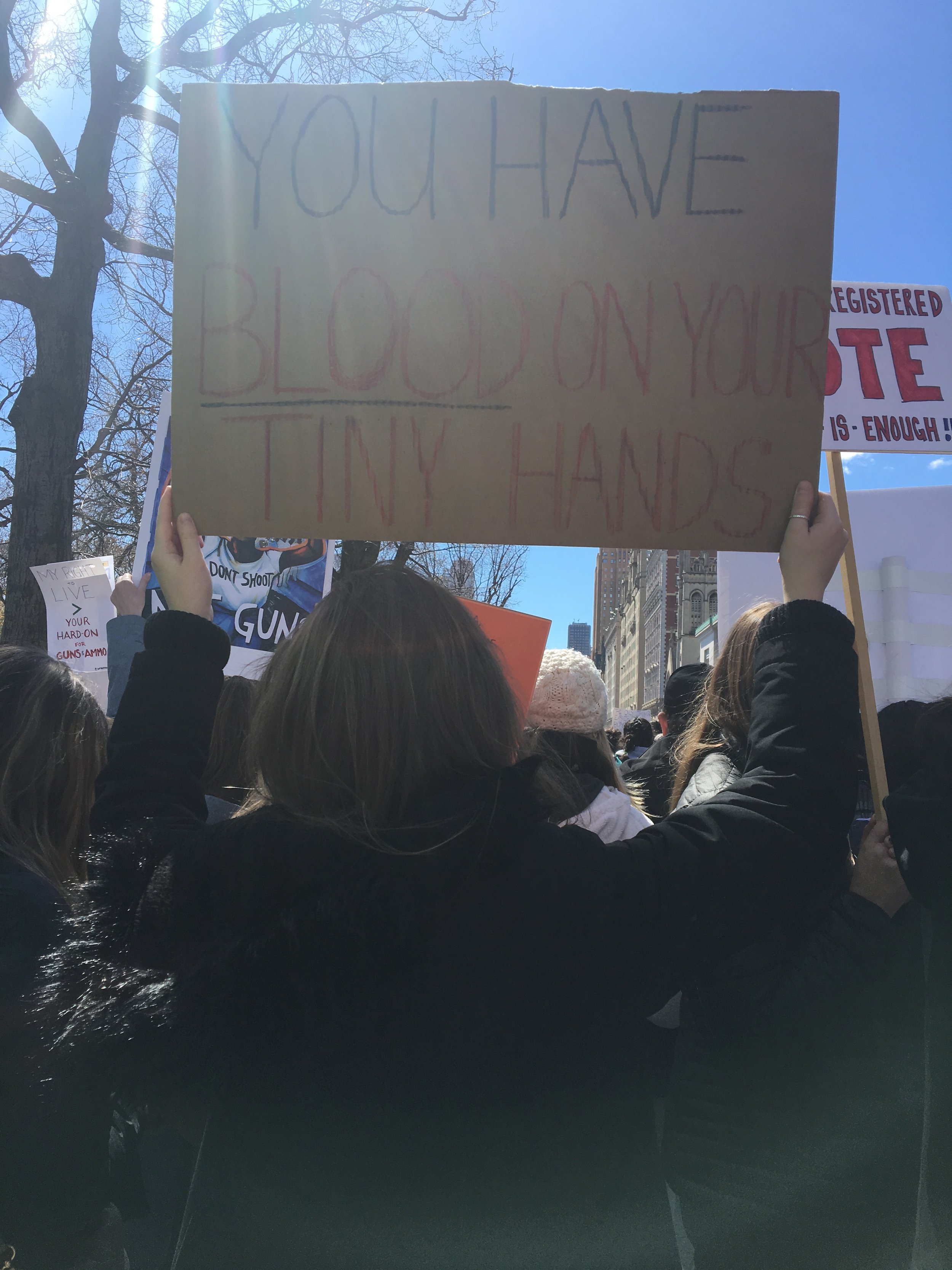 Sarah Franzetti marches in New York City. Photo Courtesy of Alyssa Hurlbut.