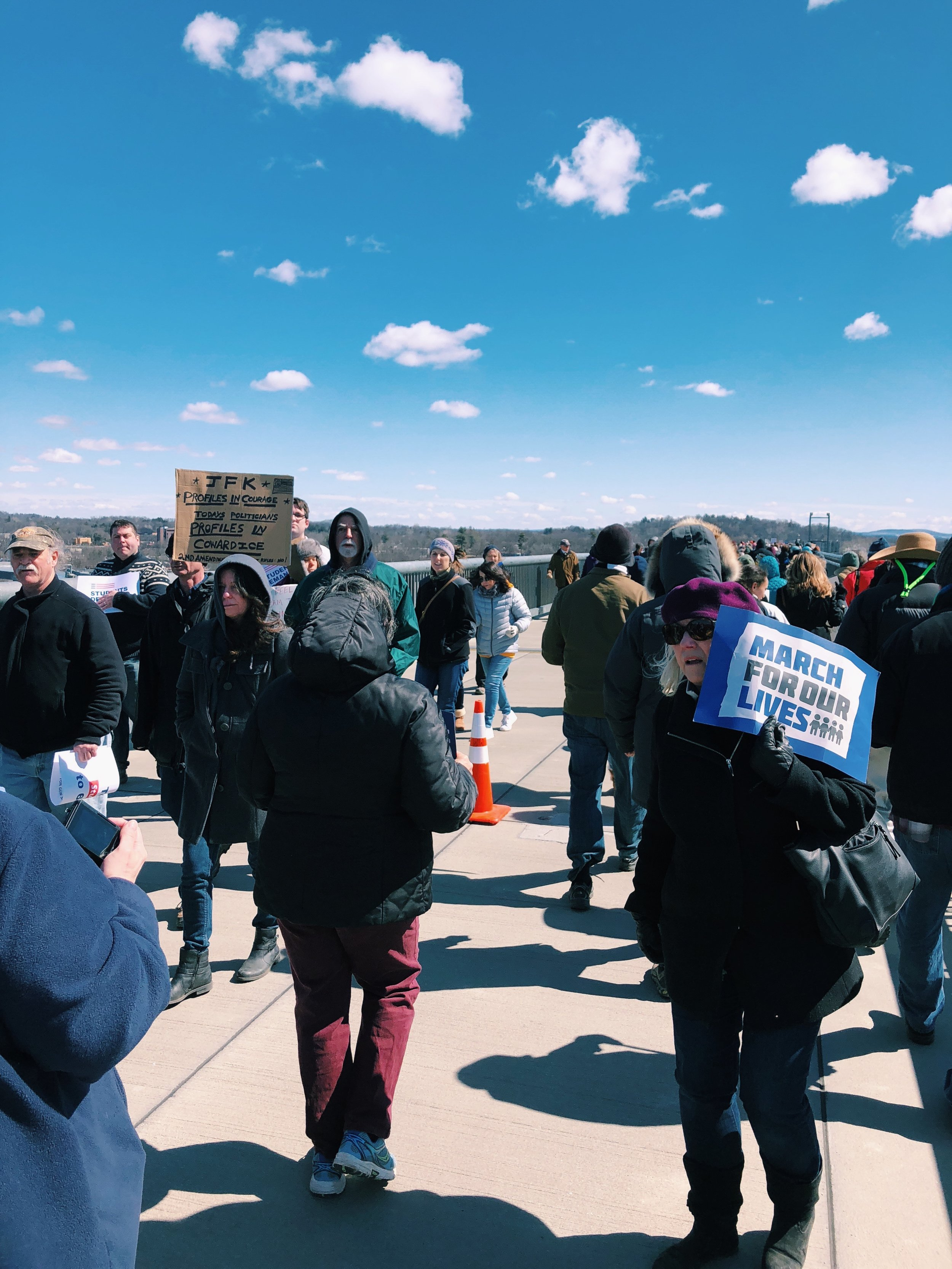 Nearly 8,000 marchers gather on the Walkway Over the Hudson State Park for Poughkeepsie's March for Our Lives. Photo Courtesy of Madison Vettorino.