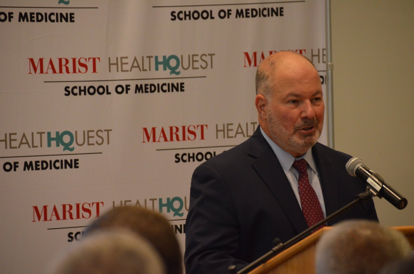 Marist College President David Yellen announcing the Marist Health Quest School of Medicine. Photo by Alexandria Watts.