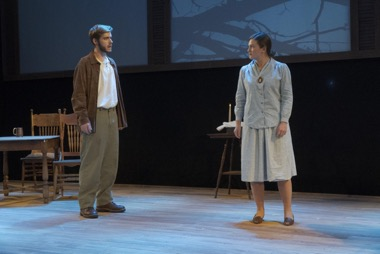 Pictured: Alex Philbin '19 as John Proctor and Audrey Cerrone '19 as Elizabeth Proctor. Photo courtesy of Brian Bocanegra.