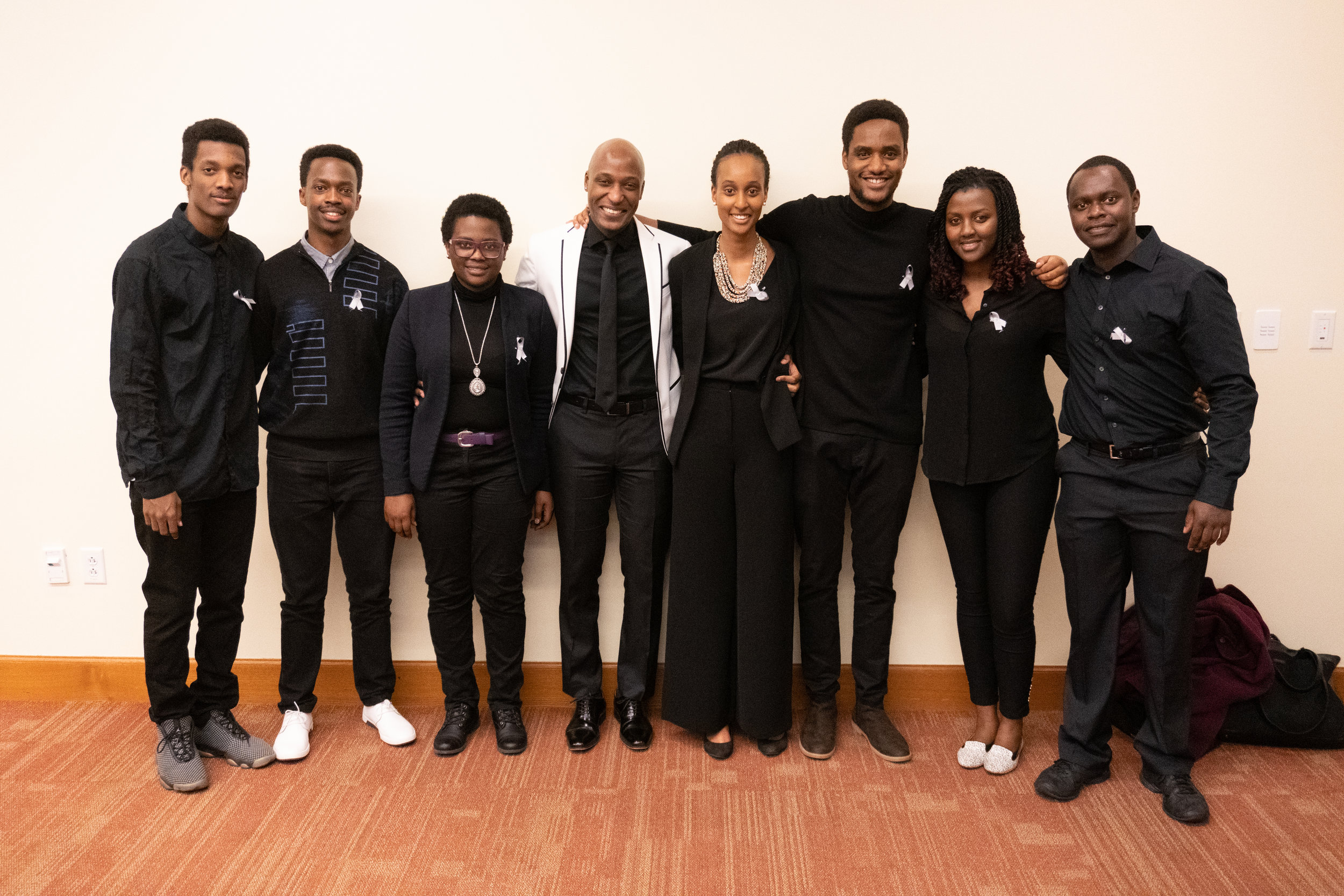 The Rwandan Students photographed with Daniel Trust, in the white coat. Photo by: Benjamin Thomas Ward