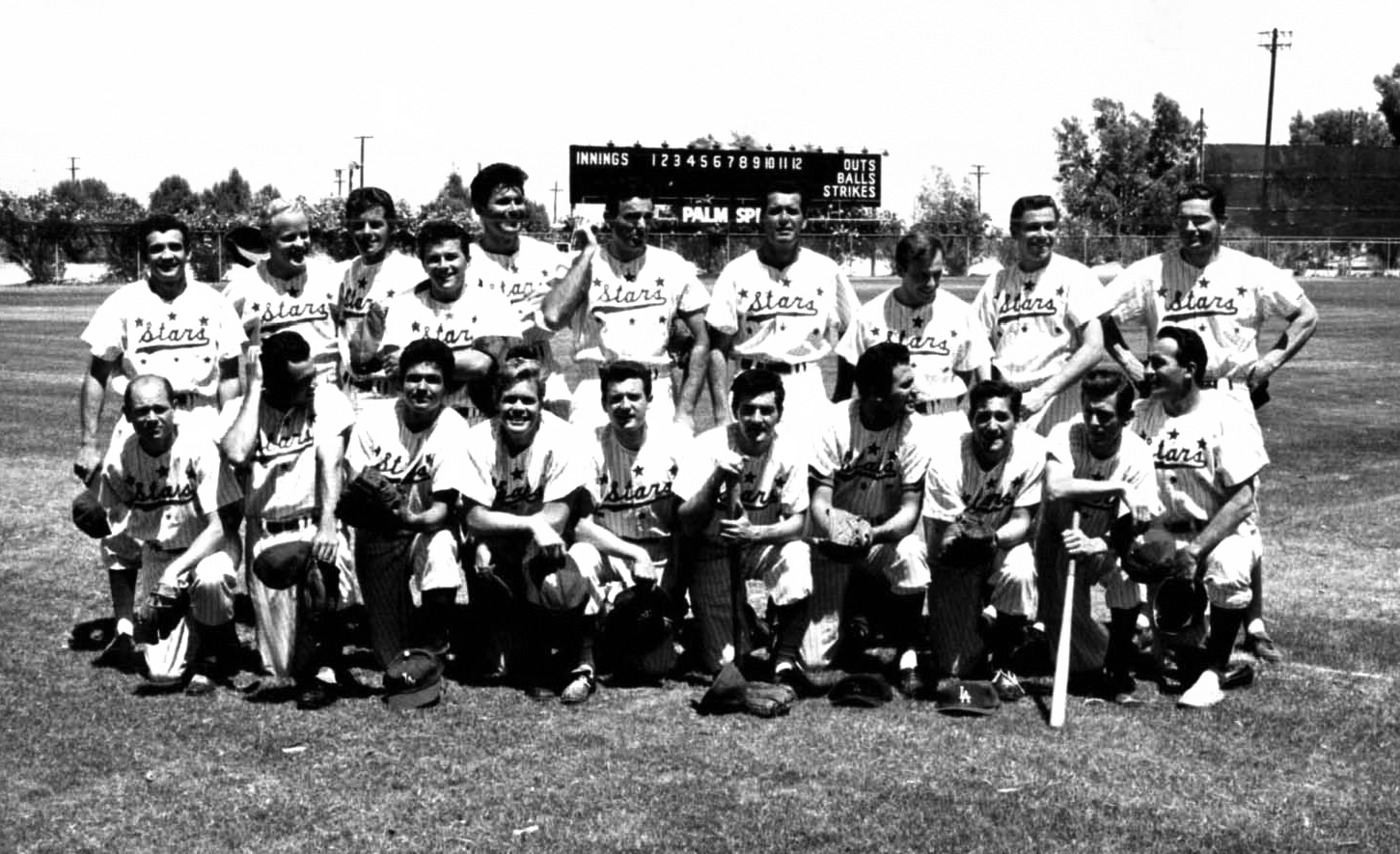 Hollywood Stars team. Dvore is front row holding bat 6th from left. Standing behind Dvore actor James Garner and Max Baer Jr. 5th form left.