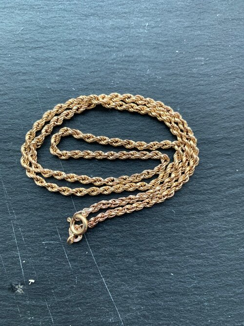 Vintage 9ct Gold 25.5\u201d Long Rope Twist Chain Necklace Hallmarked Jewellery