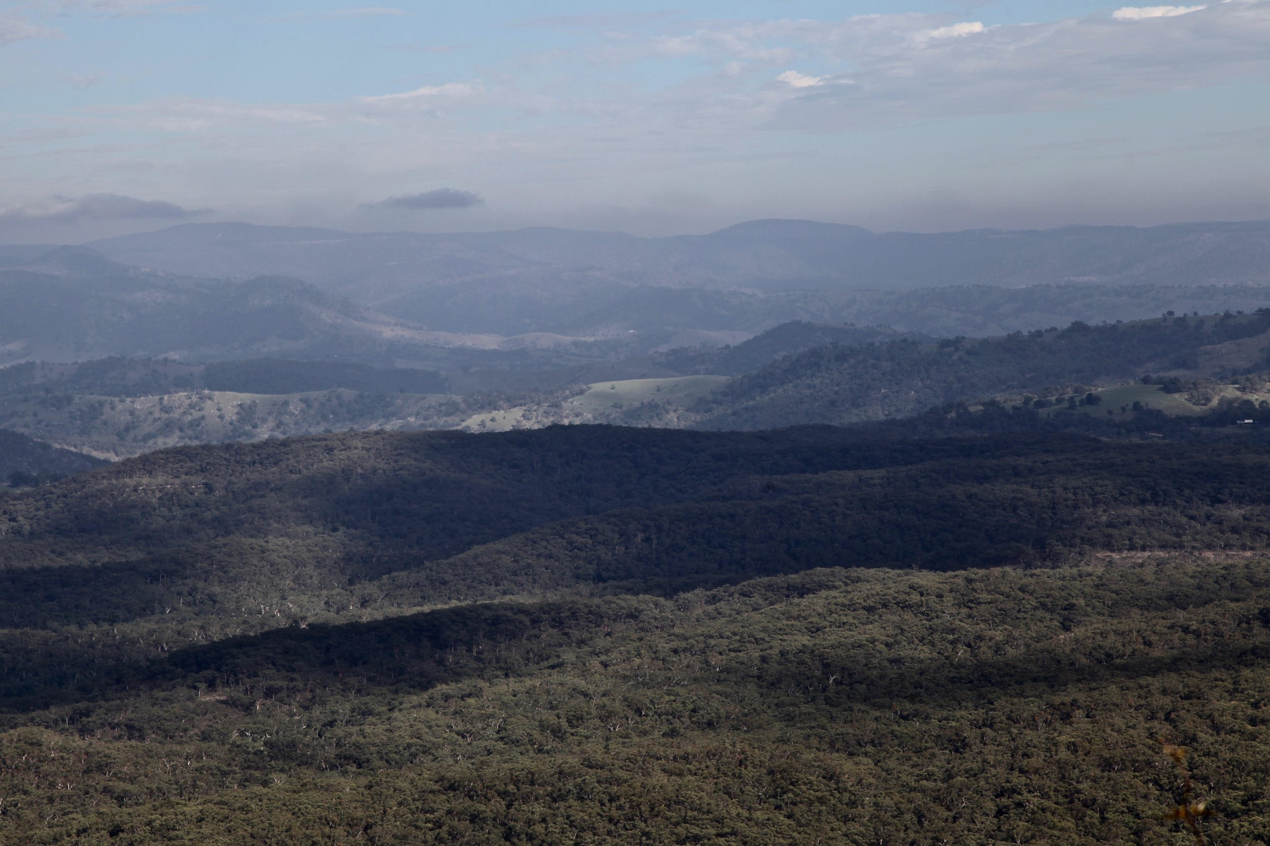 Morning light over the valley, viewed from the Narrow Neck Plateau.
