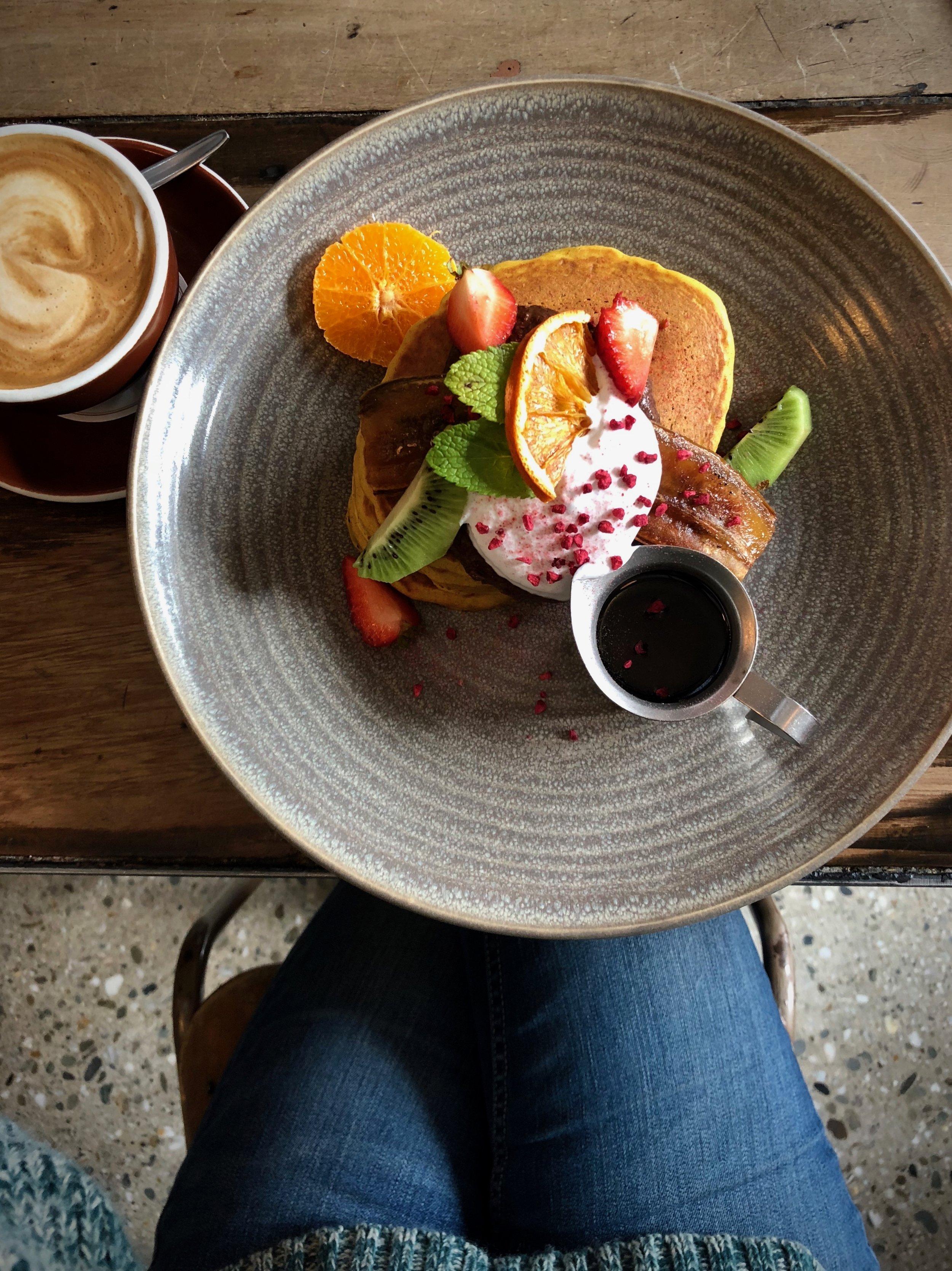 Cinnamon pancakes: one of the vegan breakfast options at Vudu Cafe in Queenstown.