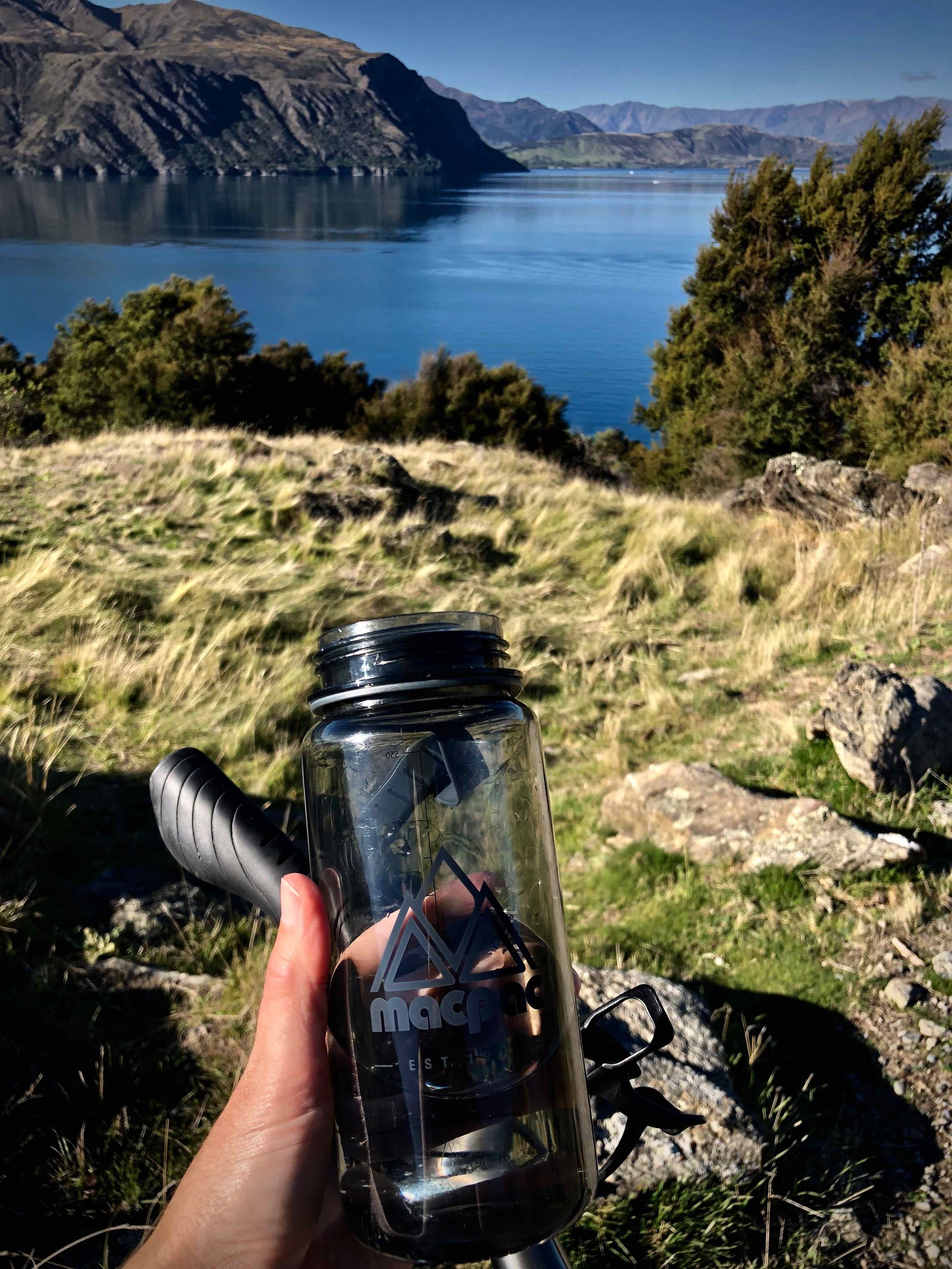 Macpac water bottle, perfectly lens sized.