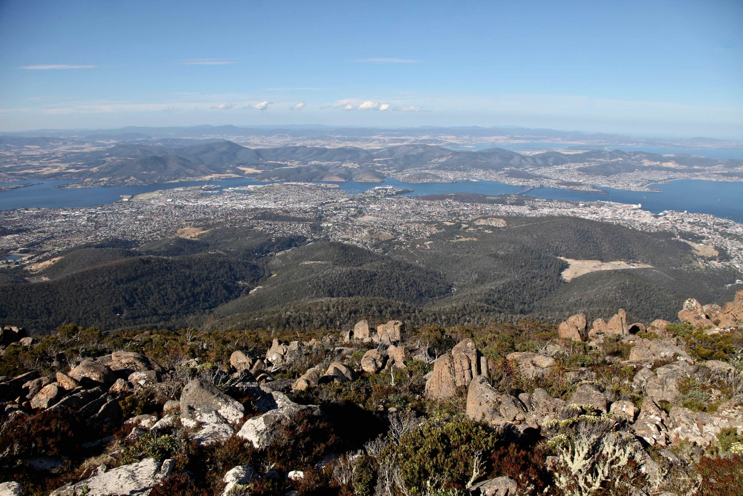This stunning view over Tasmania's capital, Hobart, is just a 30 minute drive from the centre of town.