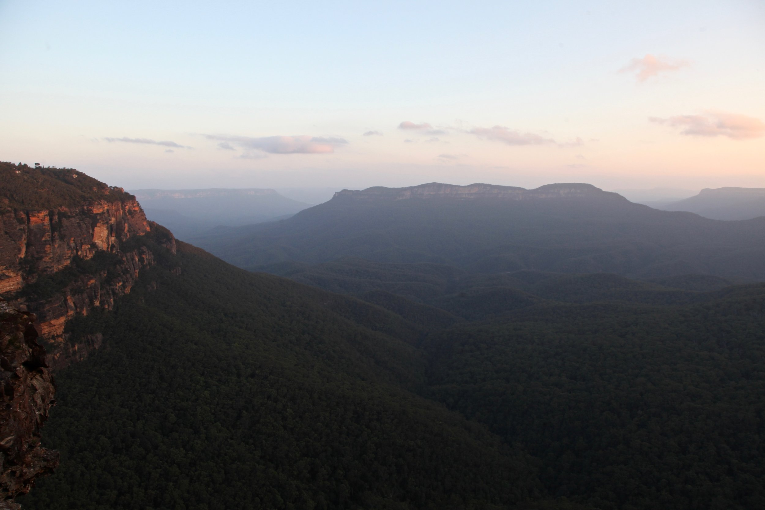 The view from Gordon Falls lookout at sunset.