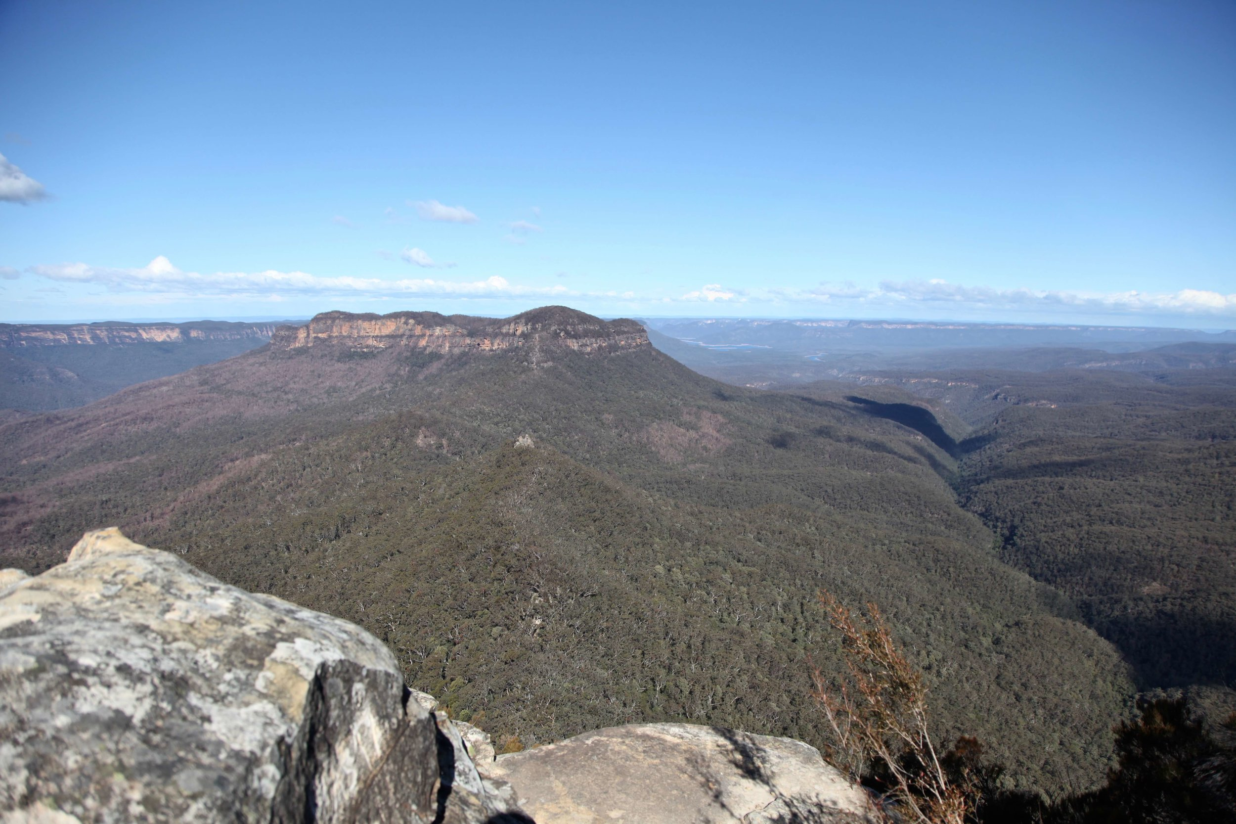 The view of Mount Solitary from the Castle Head track on Narrow Neck at Katoomba.