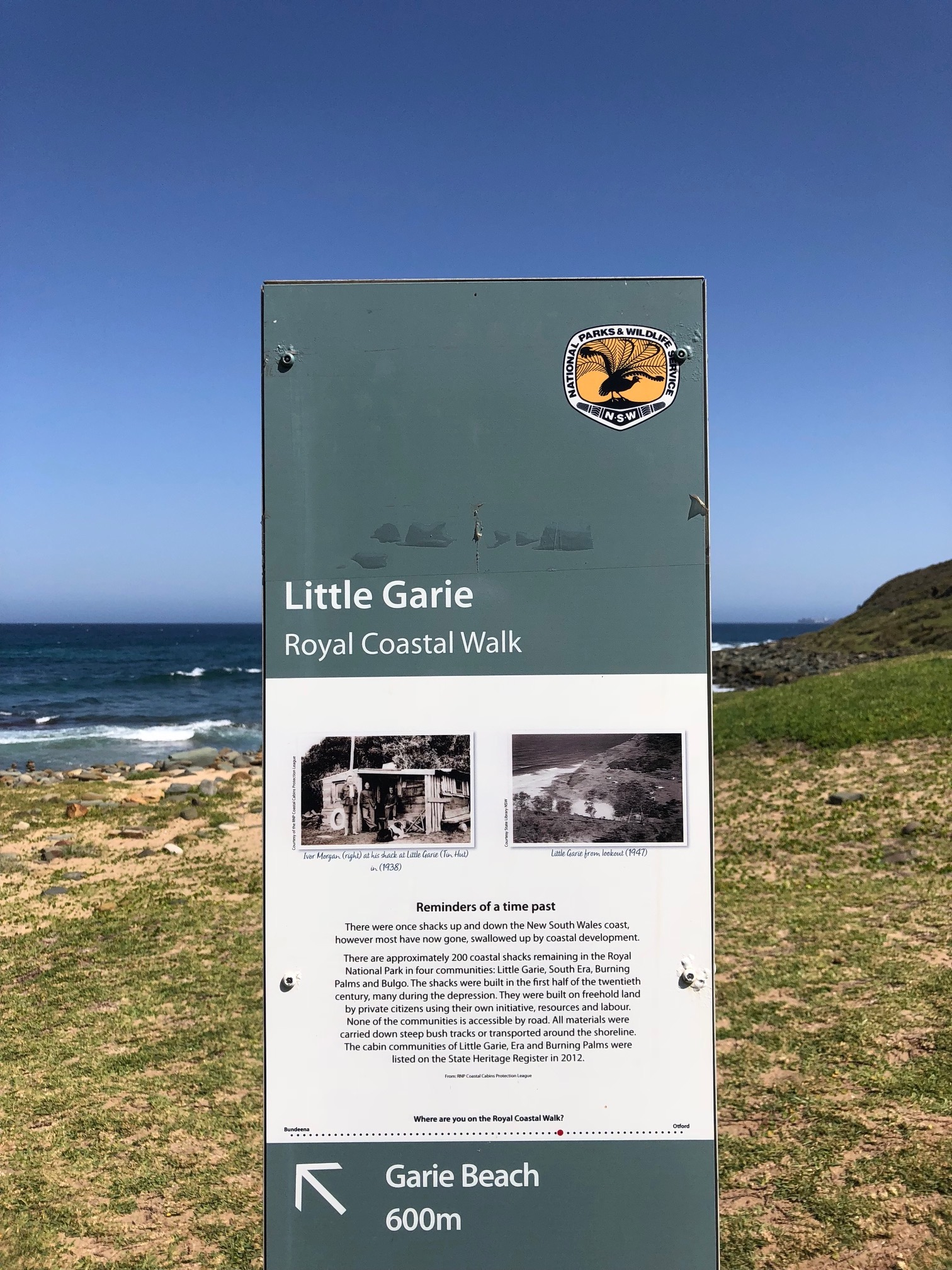 The cabin community of Little Garie in what is now Royal National Park. Cabins are no longer built here in the National Park, but after decades of campaigning by residents of the shack communities, the existing cabins earned protection from demolition.