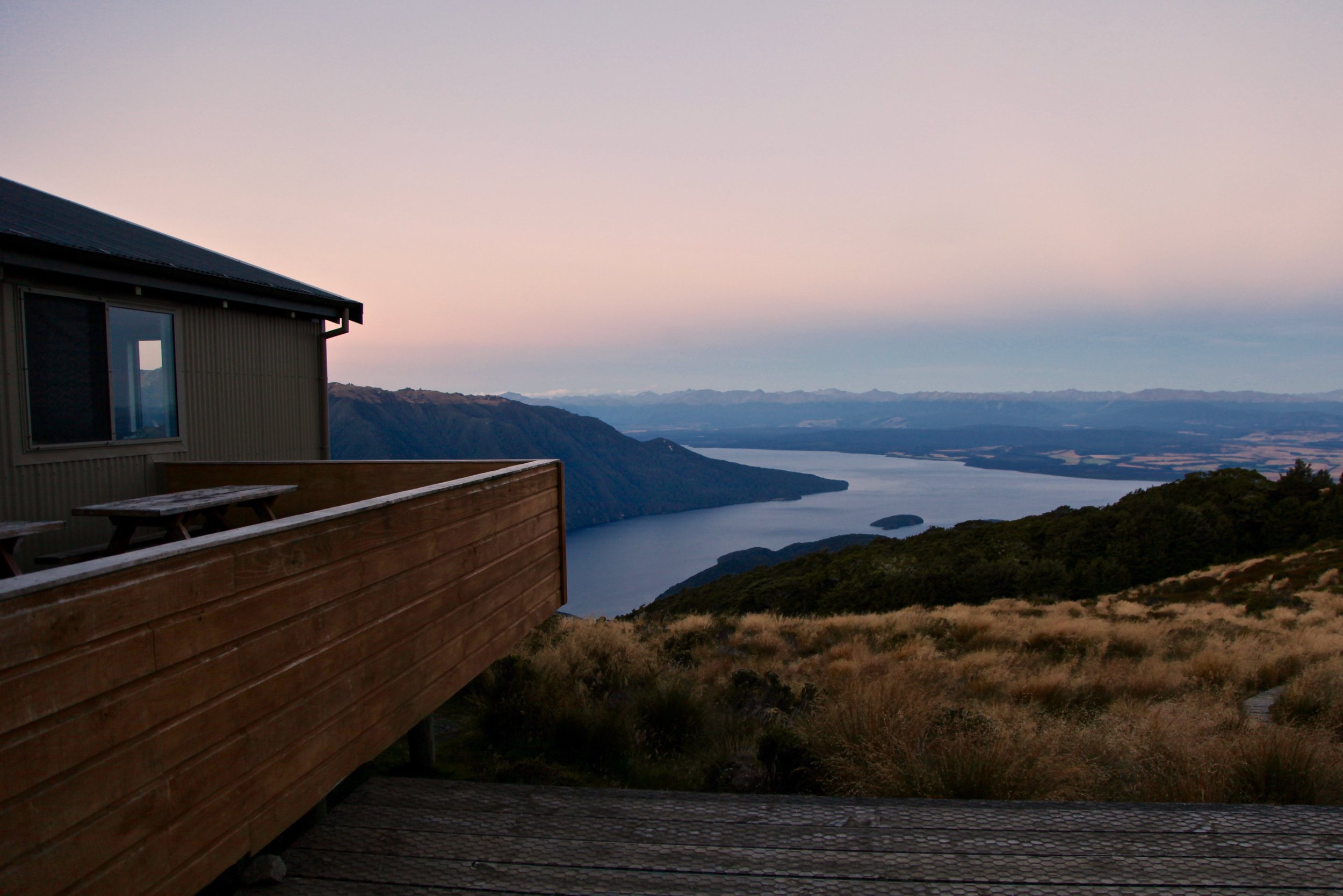 Sunset from Luxmore Hut on the Kepler Track in Fiordland National Park, New Zealand.