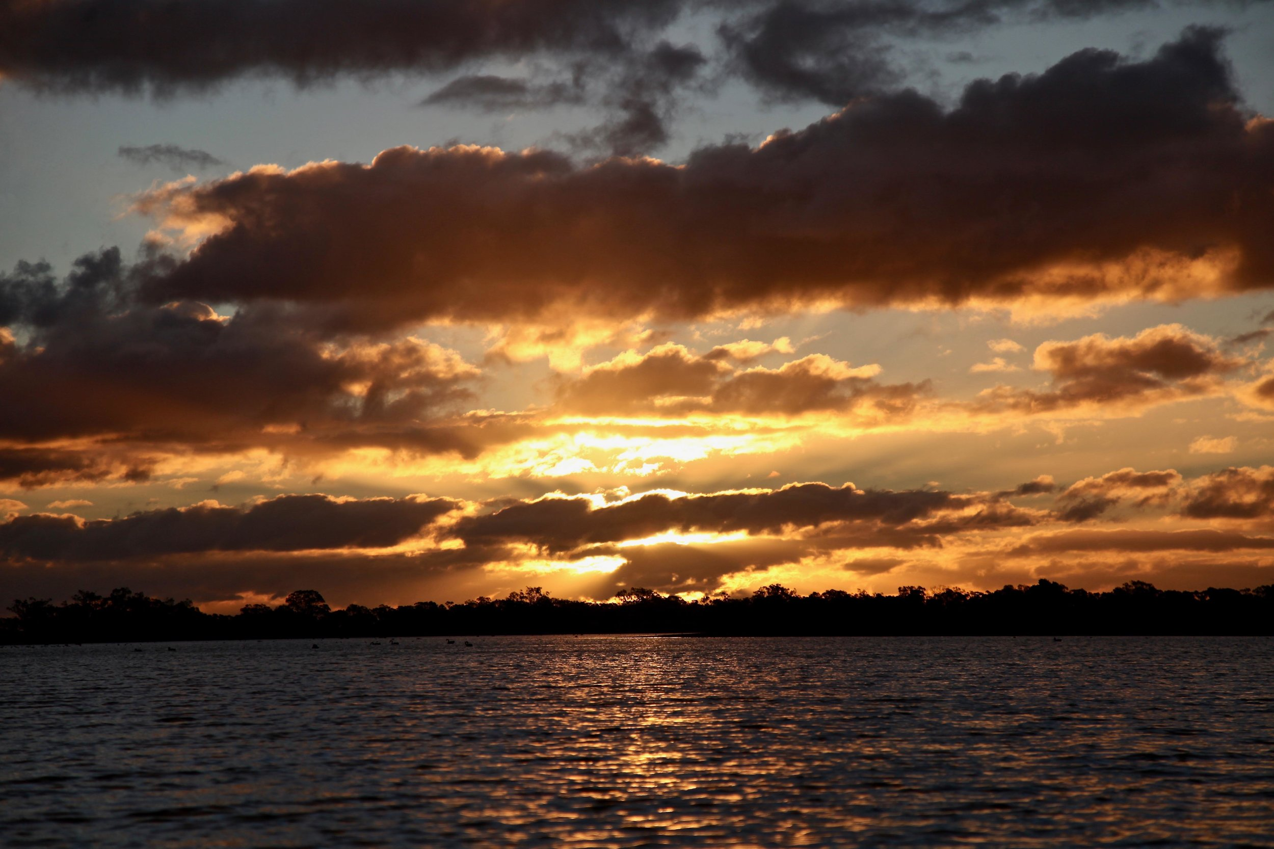 That's what I'm talking 'bout! Fire sky as the sun sets over Gum Bend Lake in Condobolin.