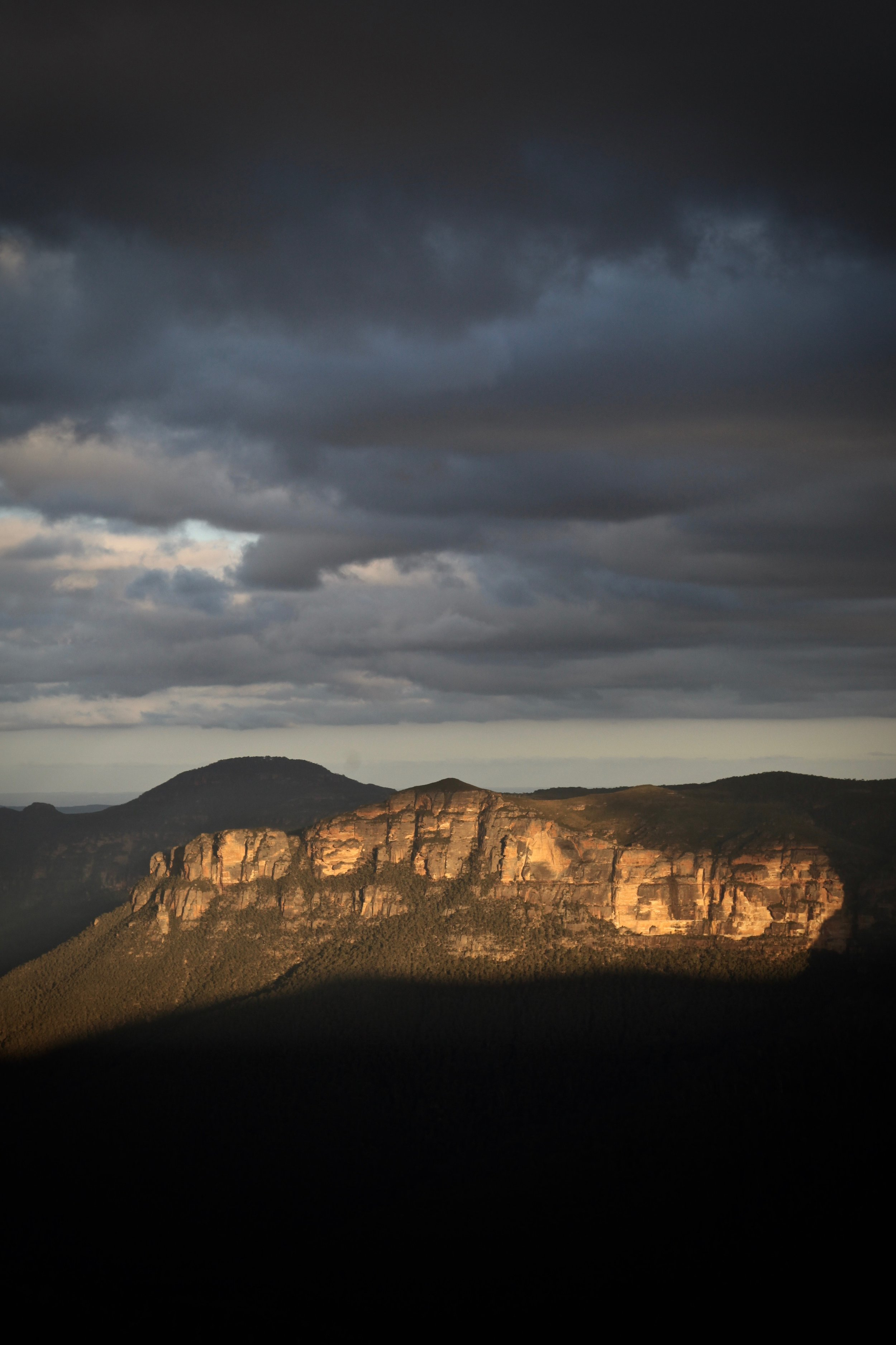 A stormy magic hour at Govetts Leap in Blackheath in the upper Blue Mountains.