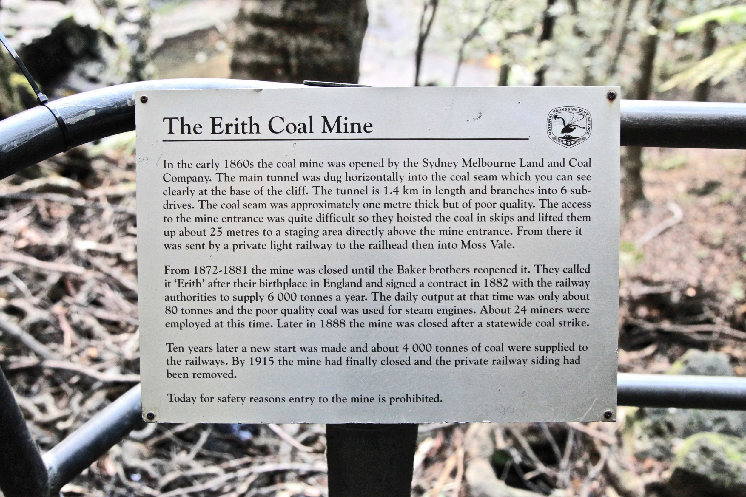 The Erith Coal mine operated on and off from the 1860s until 1915.