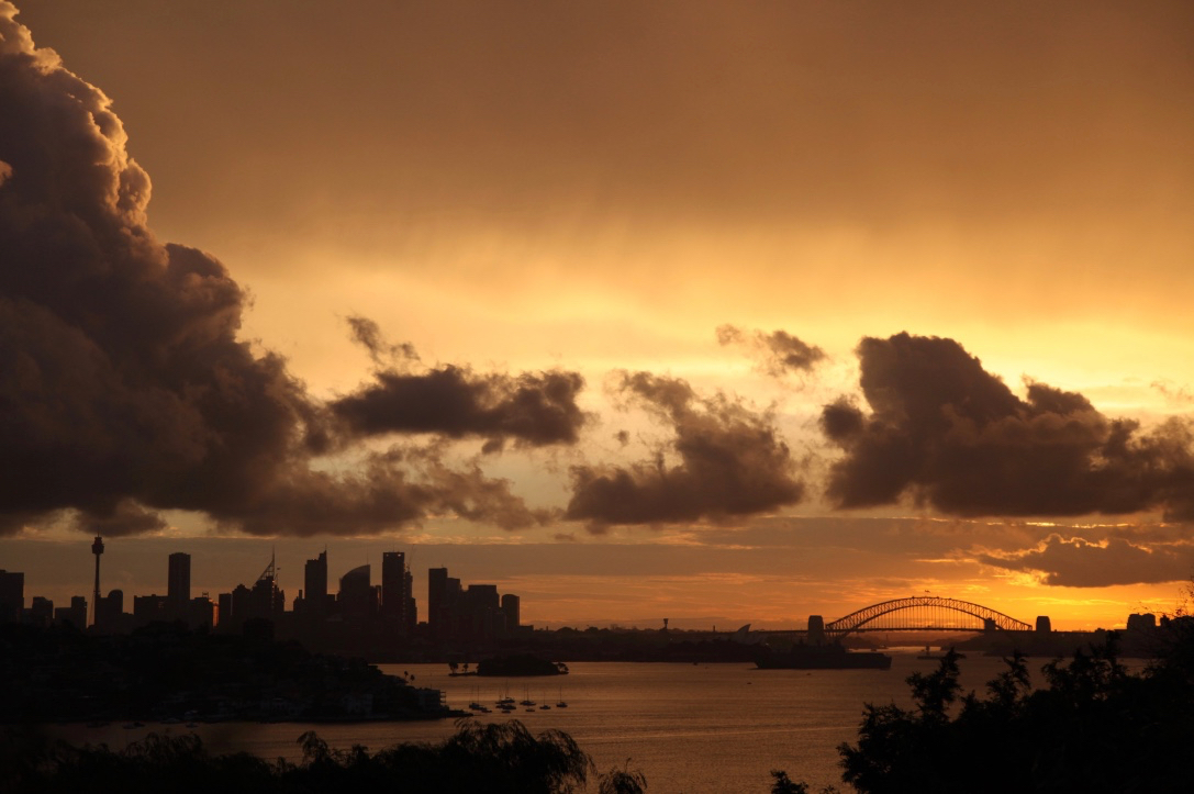Sunset over Sydney Harbour, viewed from Rose Bay.