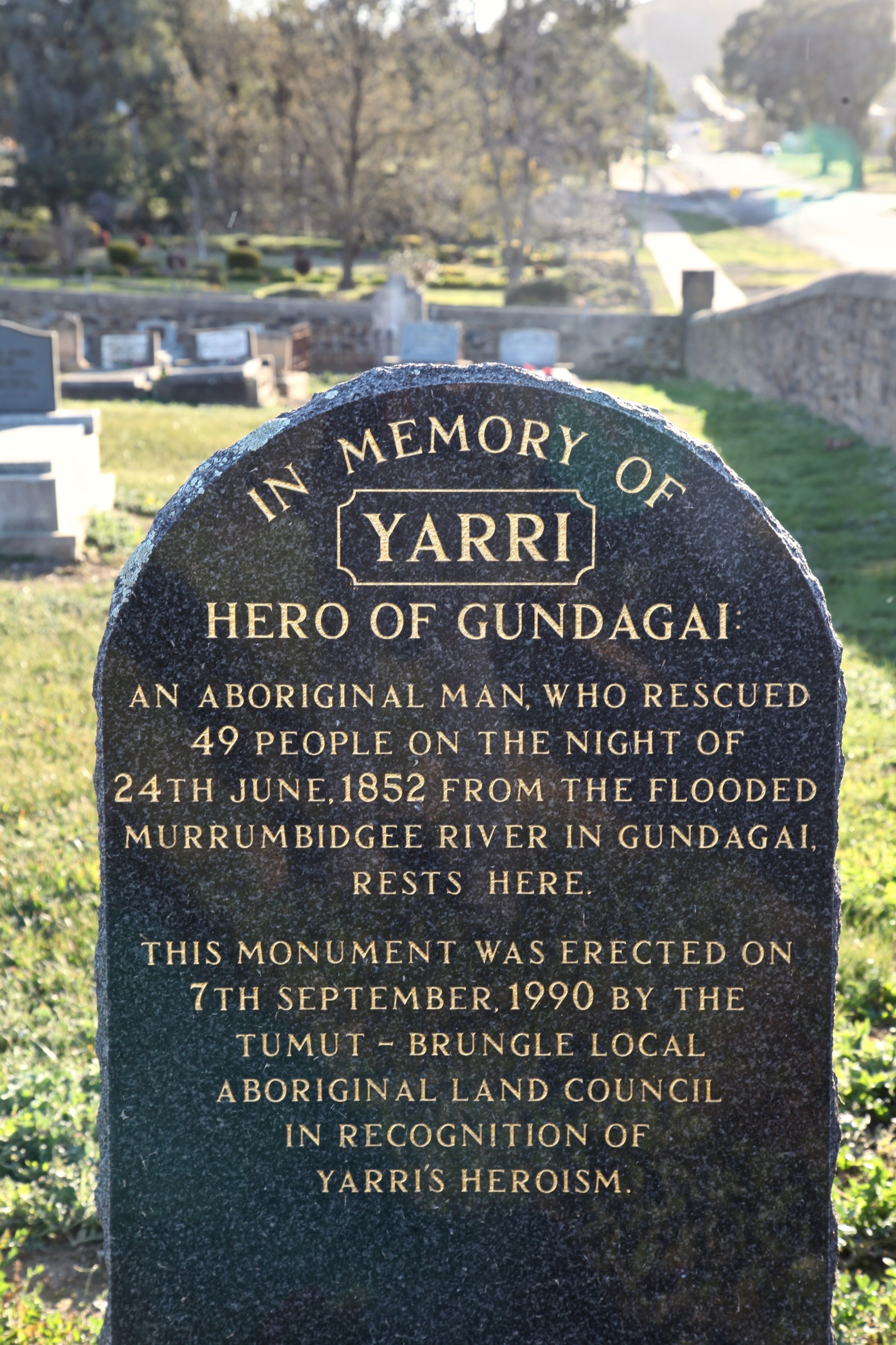 Yarri is remembered as a hero for rescuing 49 people during the devastating flood of 1852.