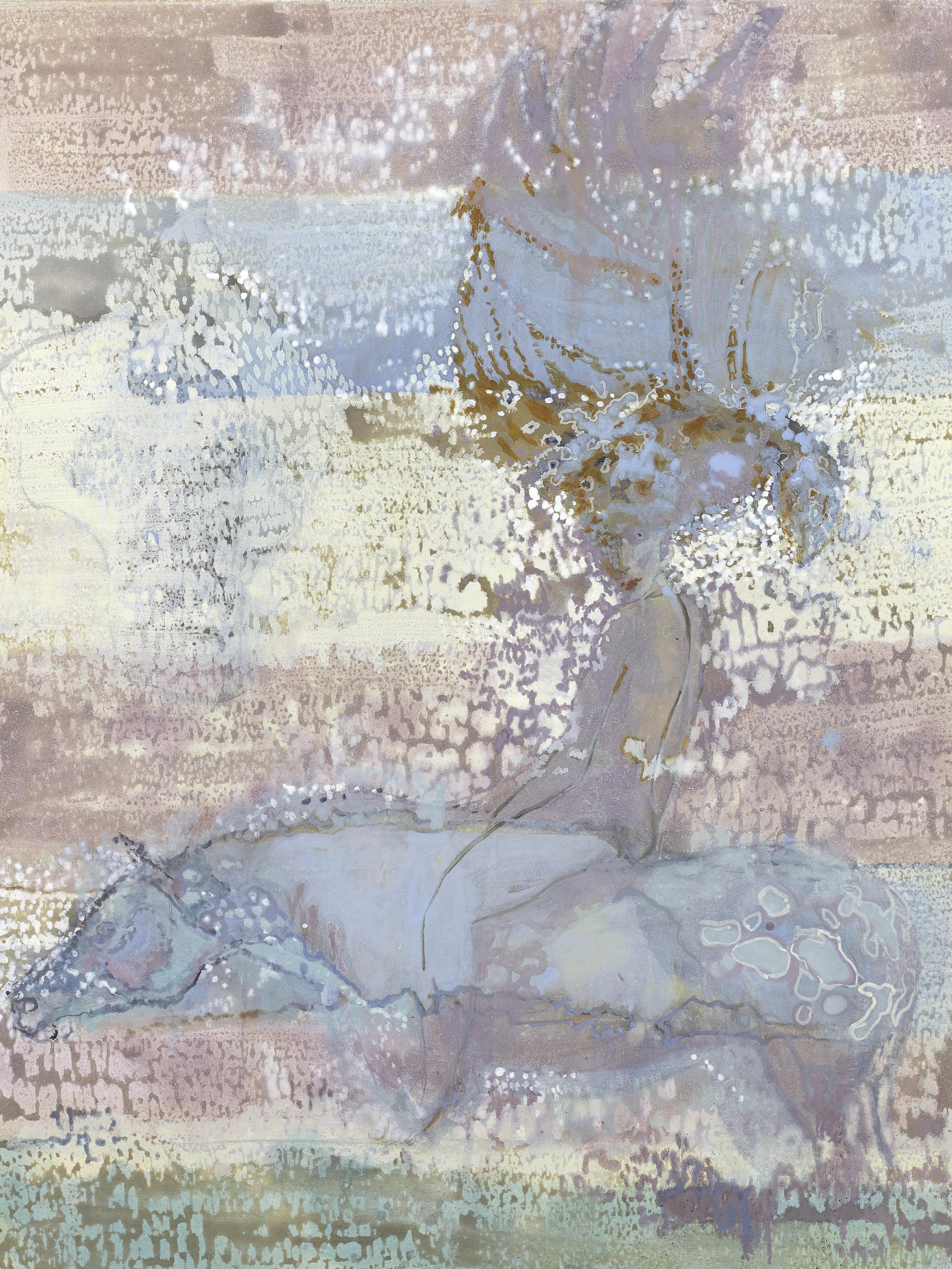 'The Hunter' oil & pigment on linen 121 x 90 cms