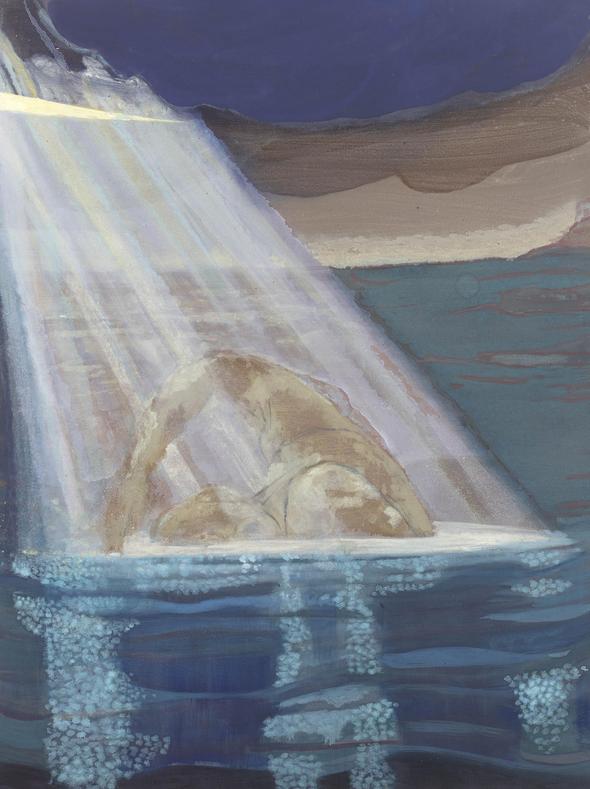'The Swimmer' oil & pigment on linen 121 x 90 cm