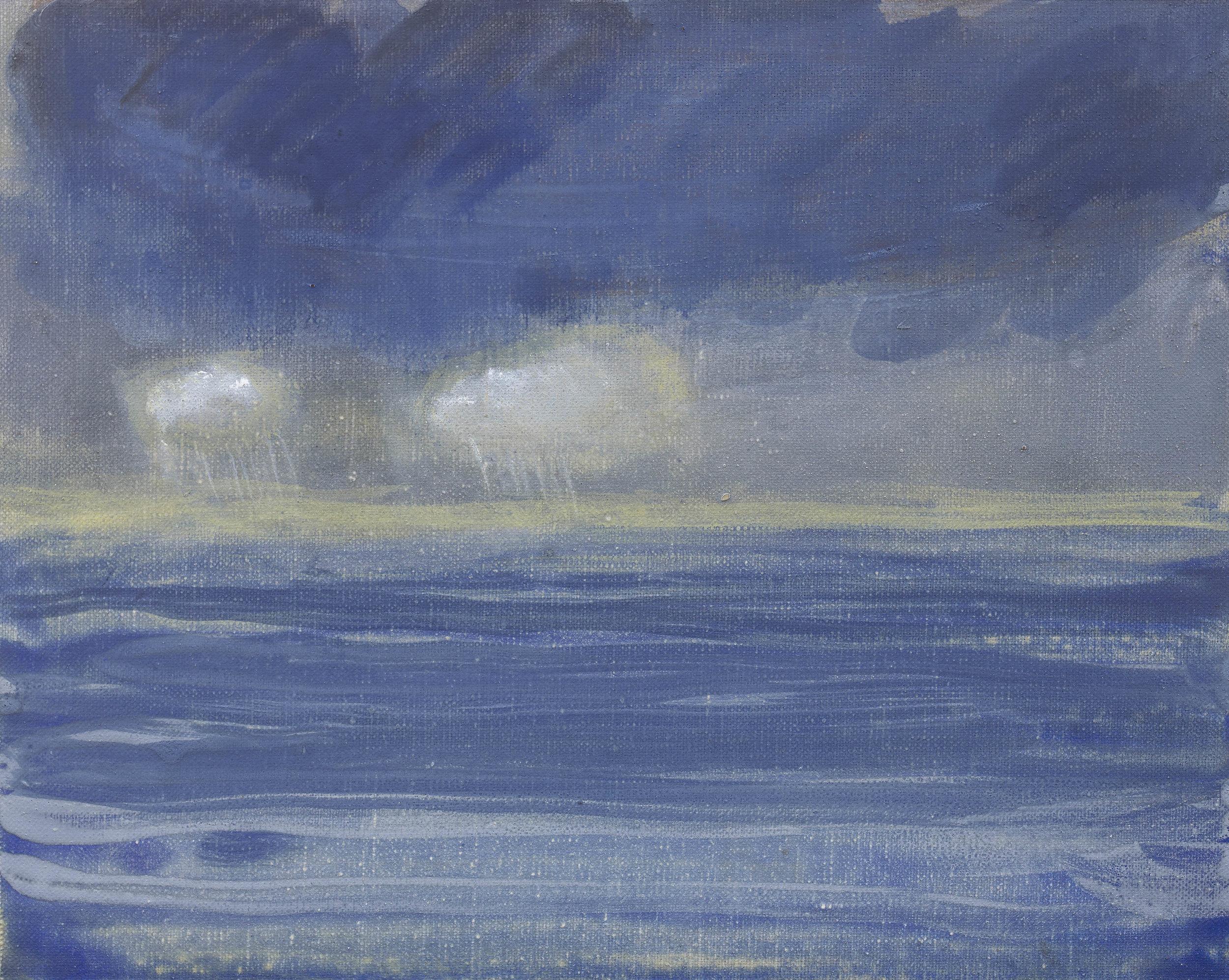 'Sea Rain' oil on linen 9½ x 11¾  ins 24 x 30 cms