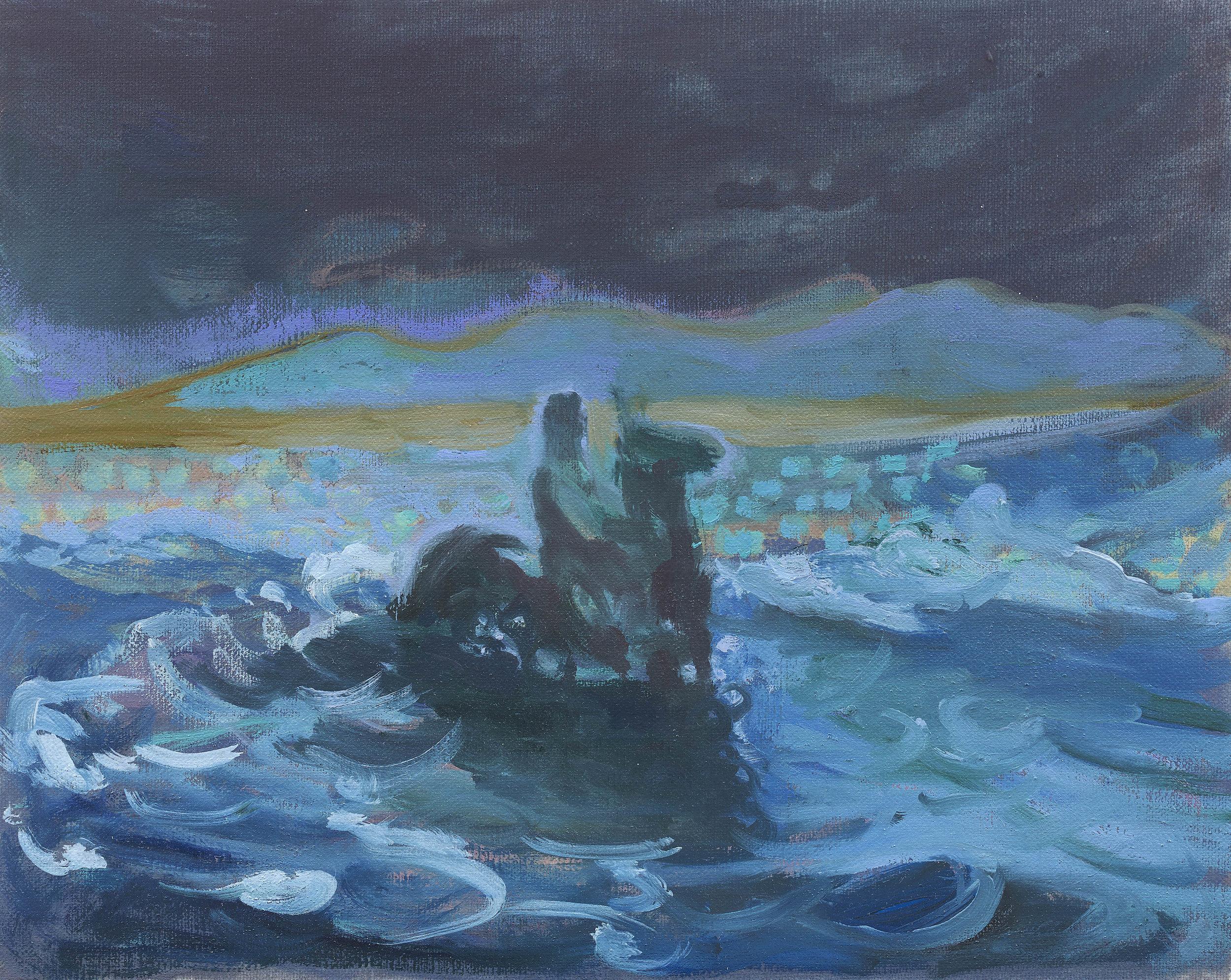 'Sea Ride' oil on linen 9½ x 11¾  ins 24 x 30 cms