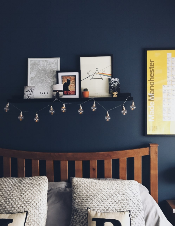 A strong statement blue from  Dulux  - Breton Blue and a pop of yellow from the Manchester Print - perfection!