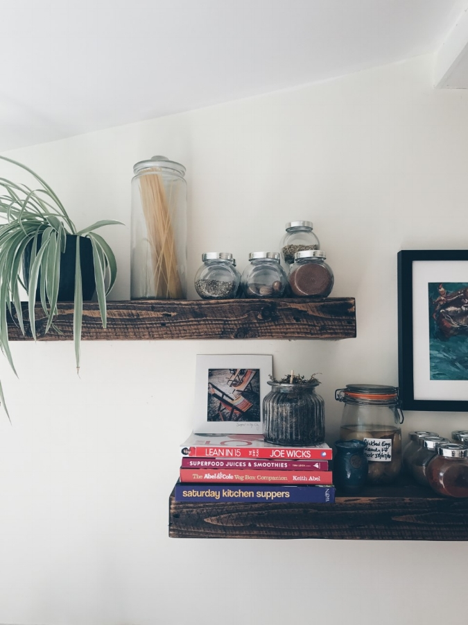 Reclaimed wooden shelves purchased from eBay are great for displaying colourful spices (and pickled eggs if you like that kind of thing!)