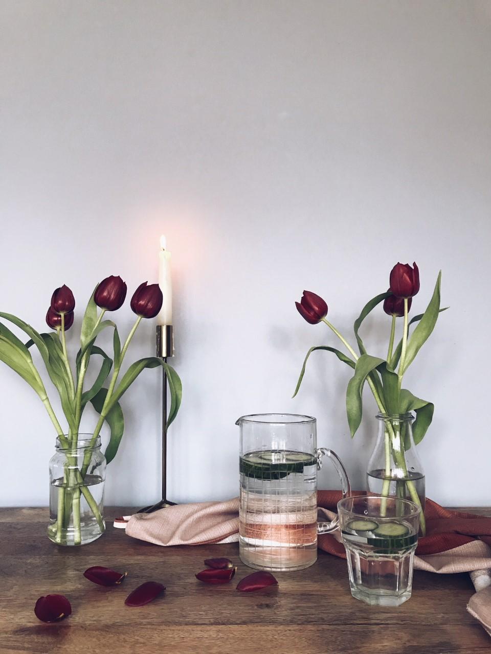 "Co Op tulips and ""bargainous"" h&m tea towel"