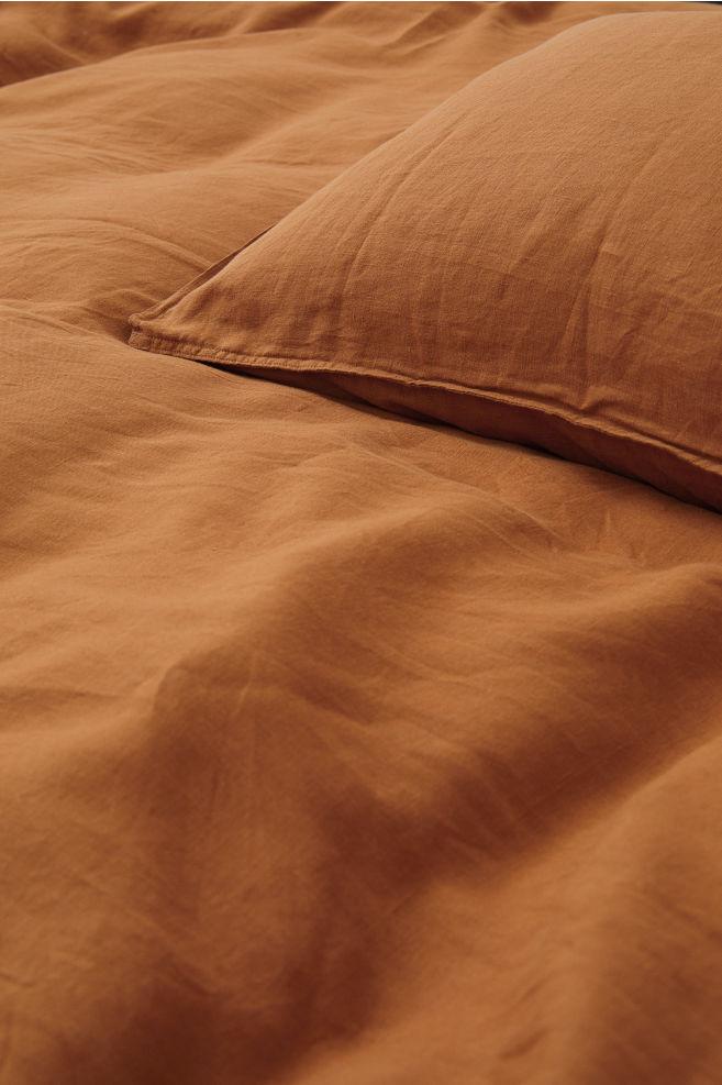 H&M - Washed linen duvet cover set - Light Brown
