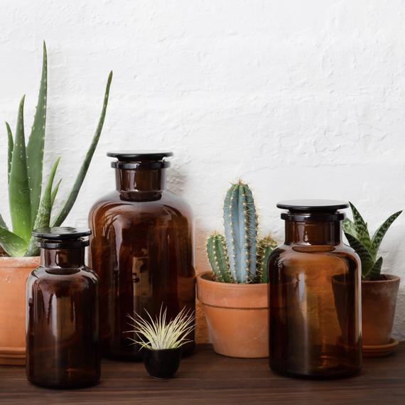 Amber Brown Glass Apothecary Jars from Kuishi Home