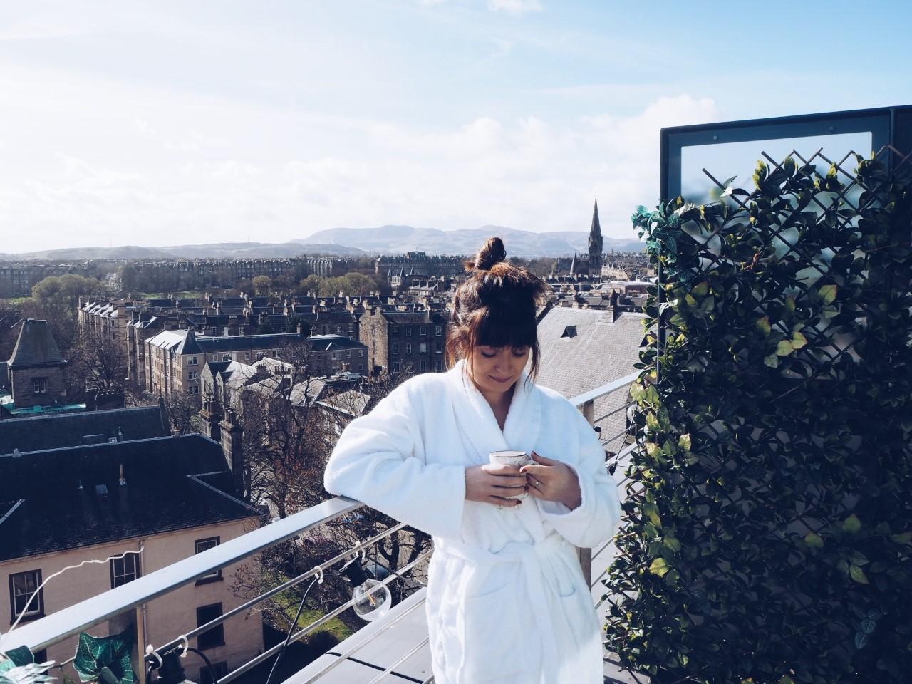 Sunny morning coffee on the balcony, Novotel Edinburgh