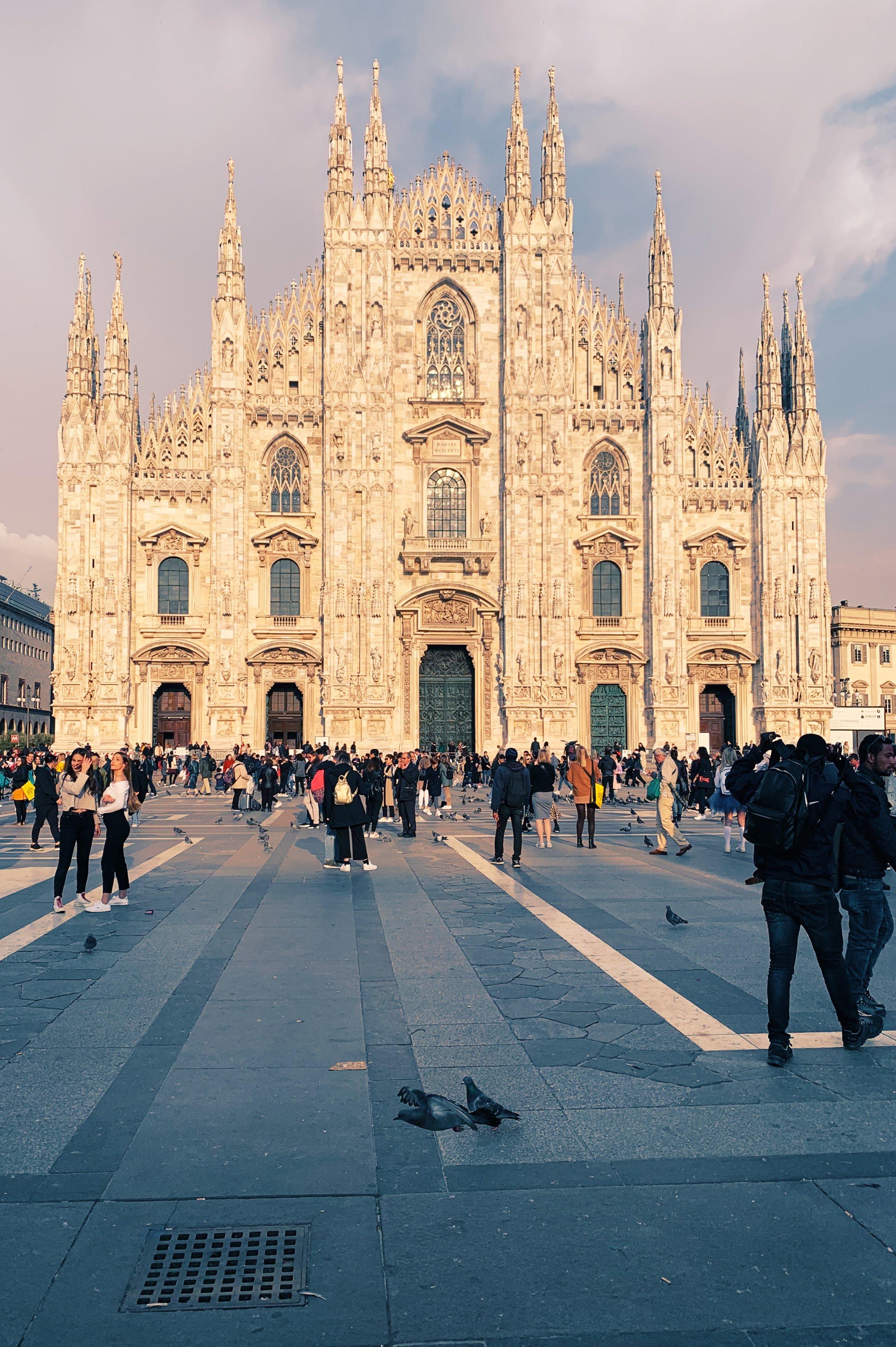 Milan Duomo at dusk.