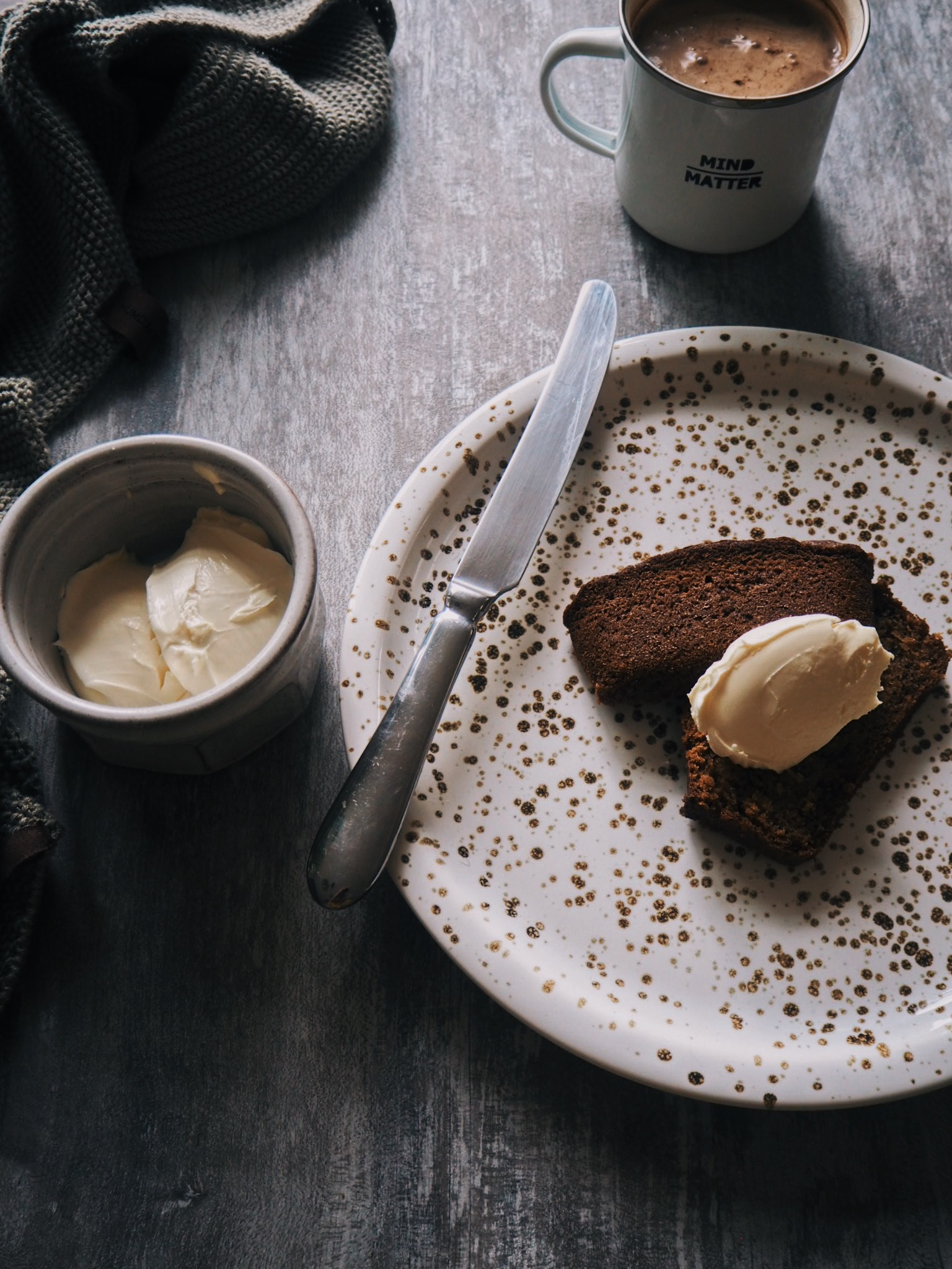 Freshly baked banana bread with mascarpone and mocha