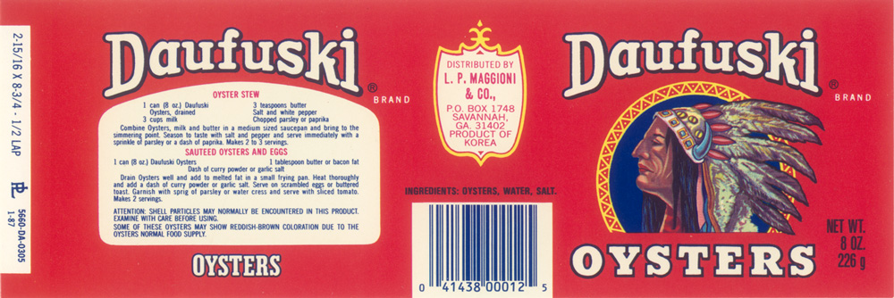 Daufuski Branded Canned Oysters