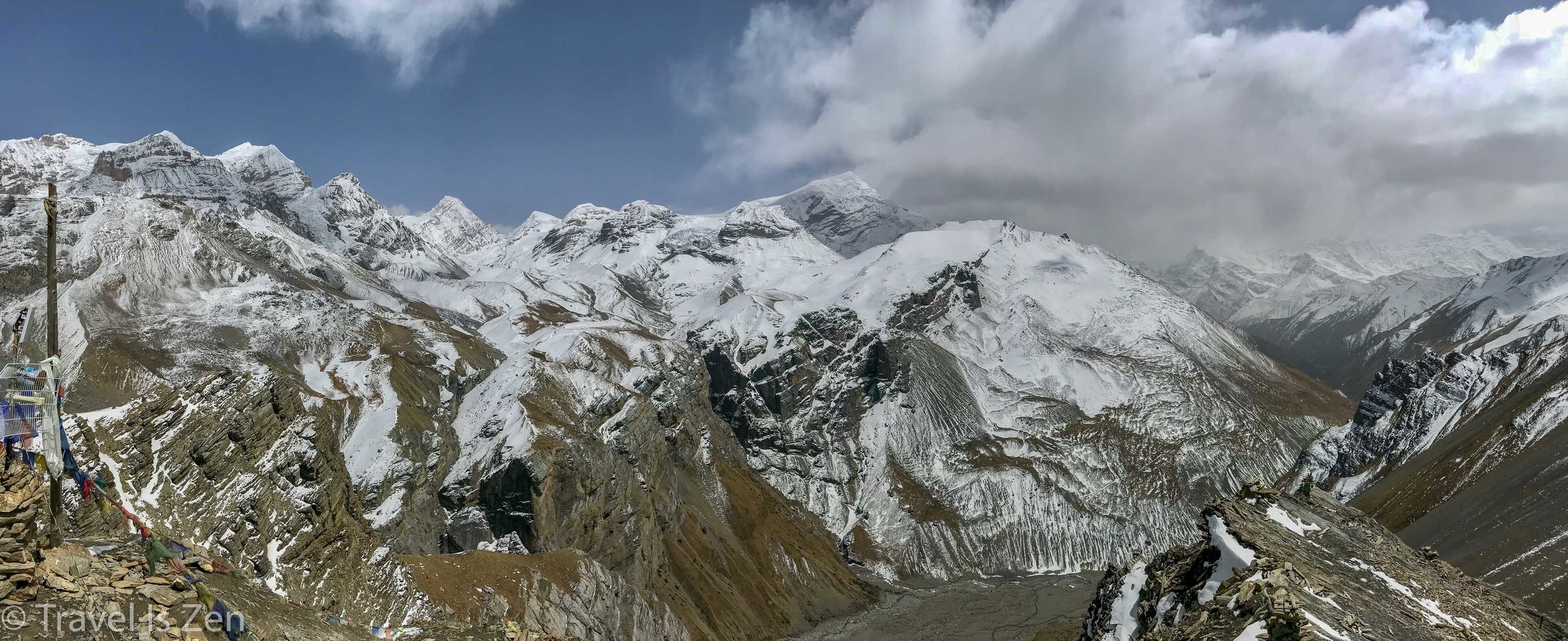 View from High Camp; Thorong Phedi lies on the valley floor.
