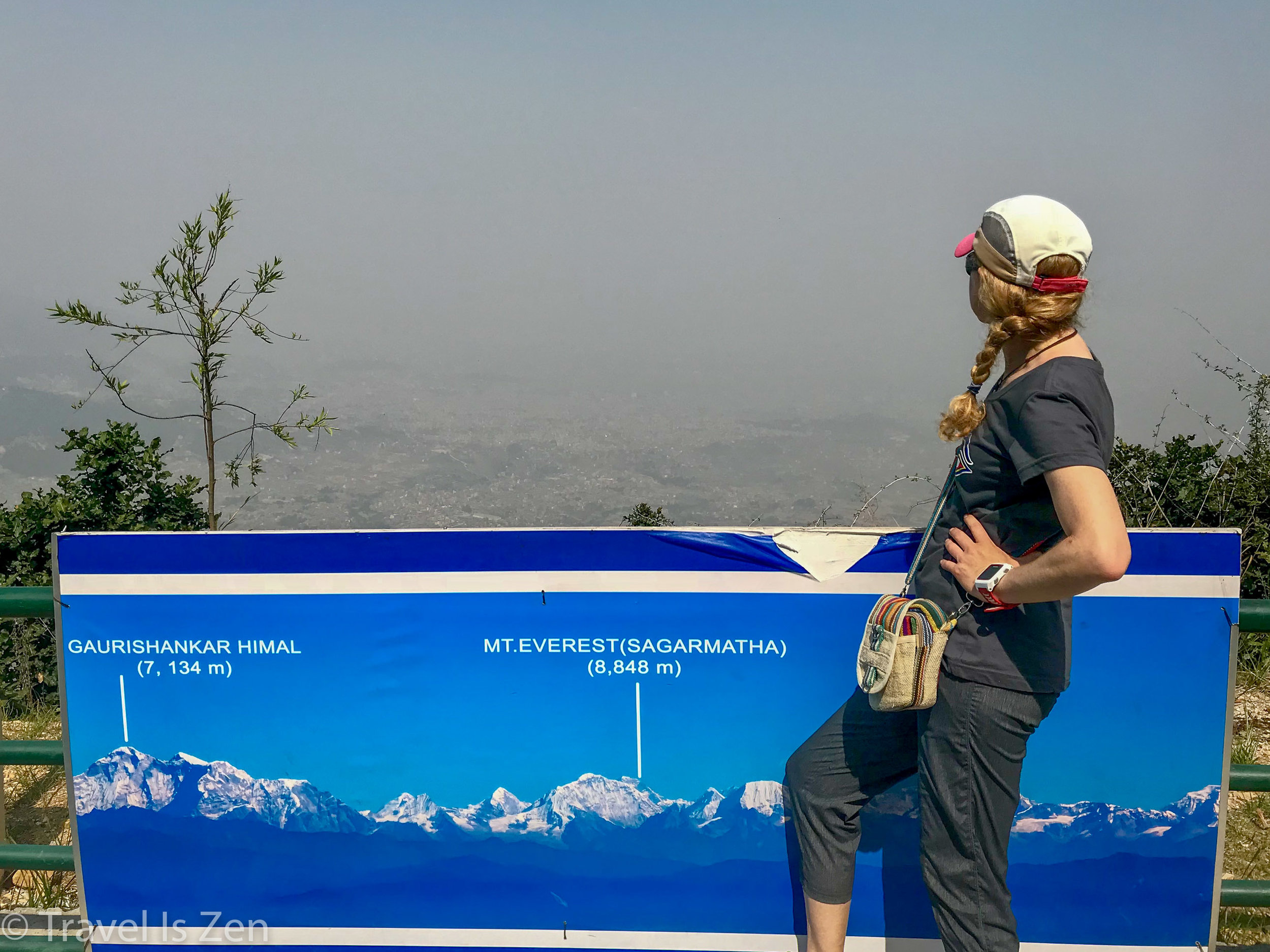Mt. Everest is RIGHT THERE! Behind the smog!
