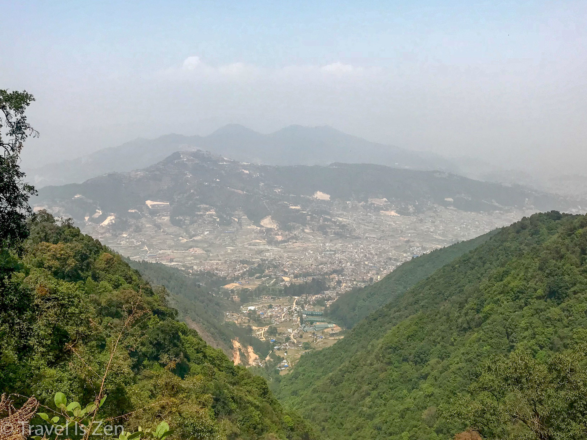 View of Thankot (in the valley)from the top of trail. Kathmandu in the distance.
