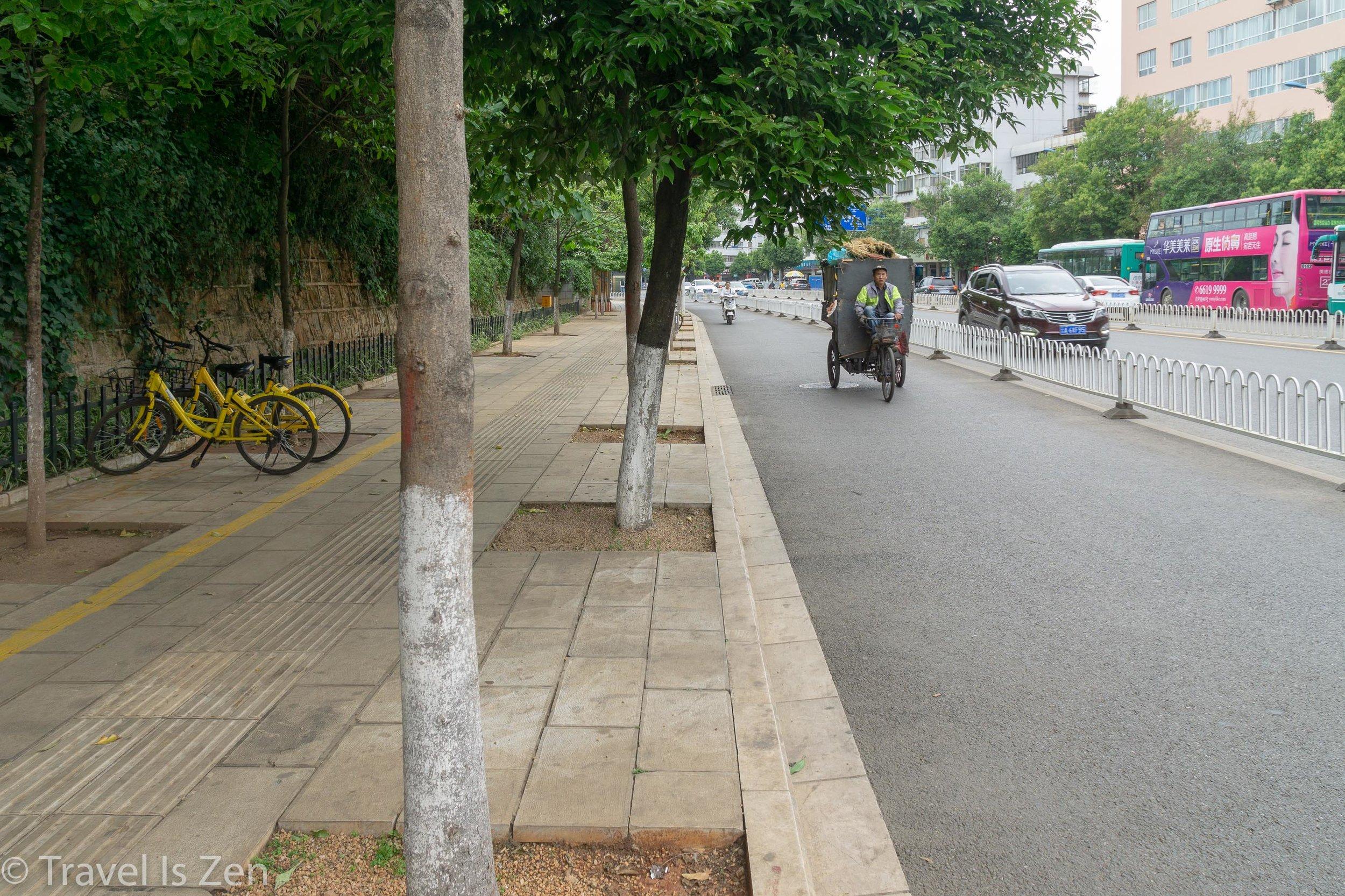 sidewalks, bike lines, car lanes