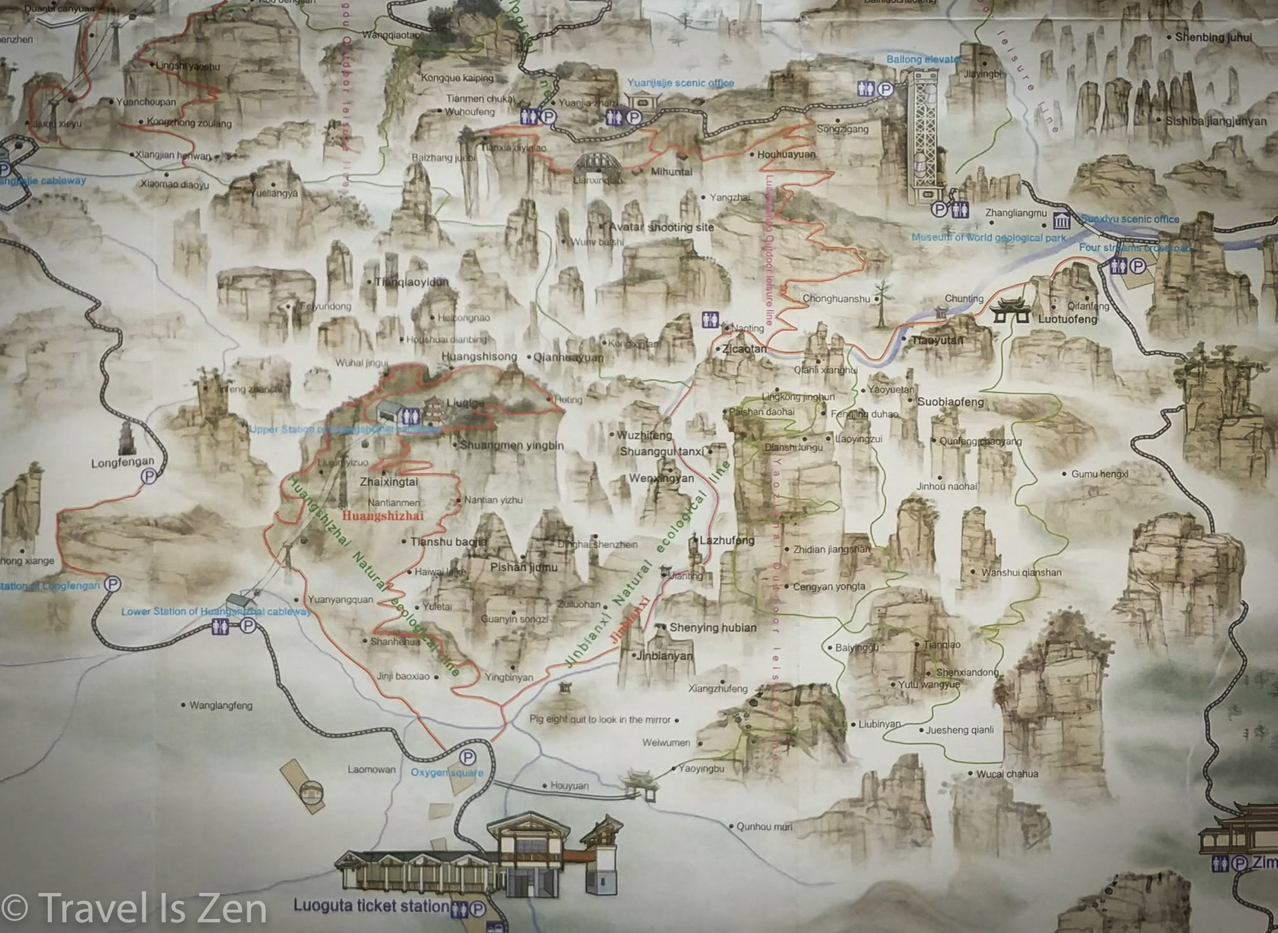 Yuanjiajie Huang Shi Zhai and Golden Whip Stream - red lines denote walking trails
