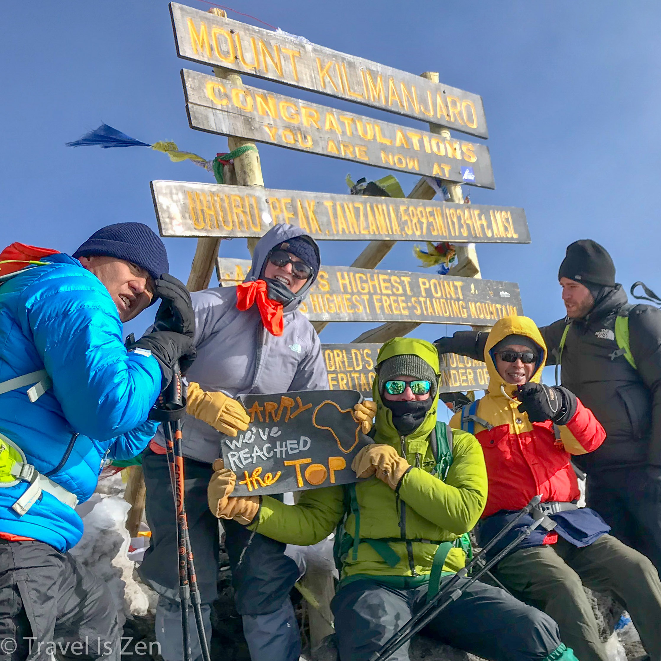 This amazing crew not only made it to Uhuru Peak, but also snapped a freaking photo!!! Left to right: our new friend Ed, cousin-in-law Nicky, cousin Sean, hubby Caffrey and new friend Brian