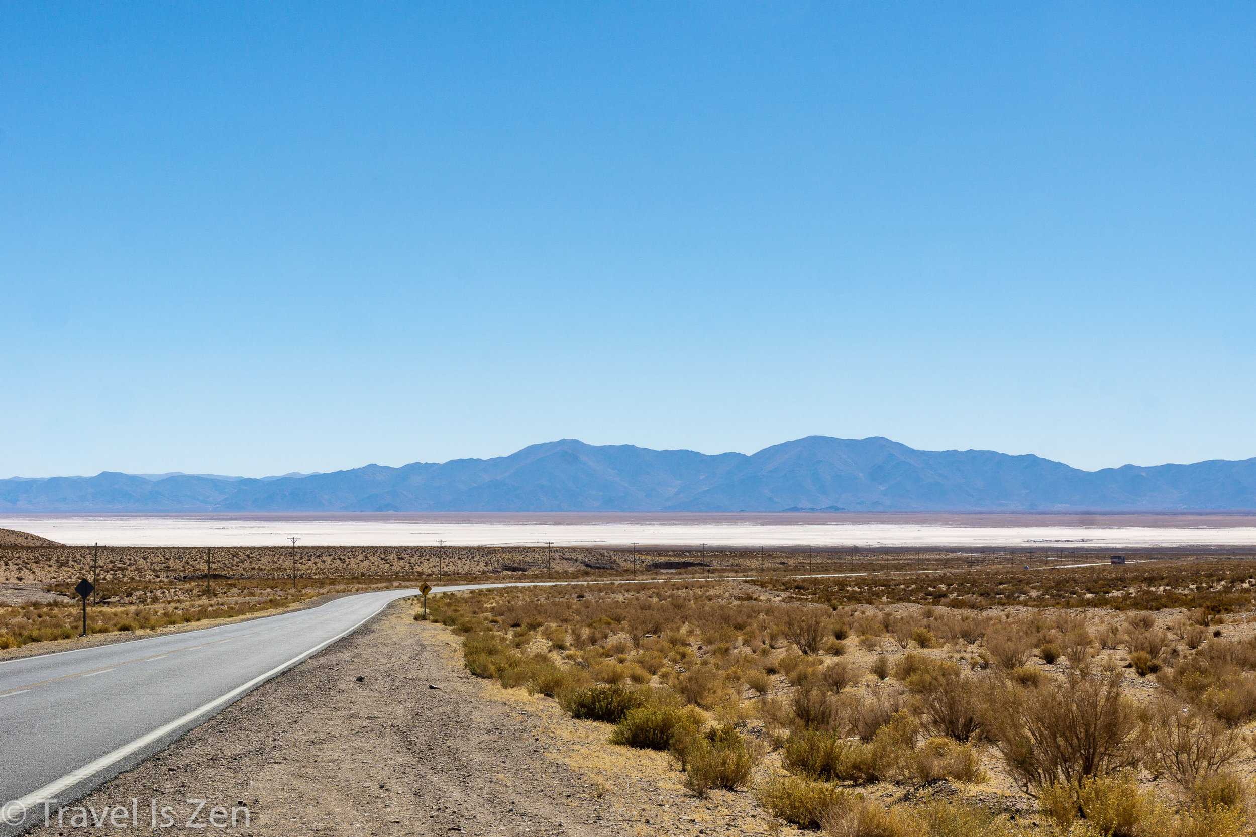 Salt Flats shimmering in the far distance, Route 52