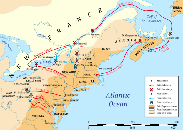 Map of the French and Indian War